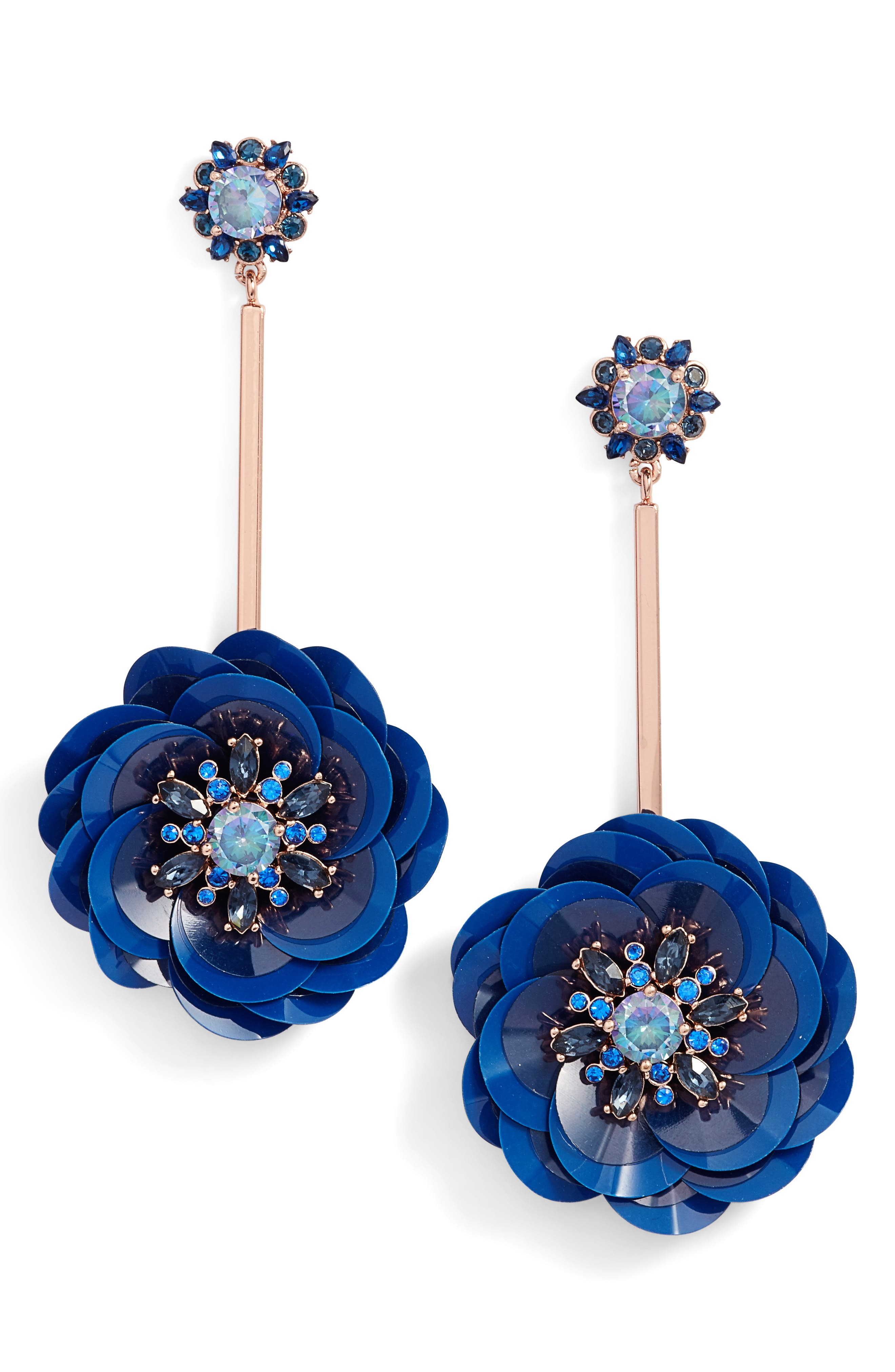 snowy nights sequin drop earrings,                             Main thumbnail 3, color,
