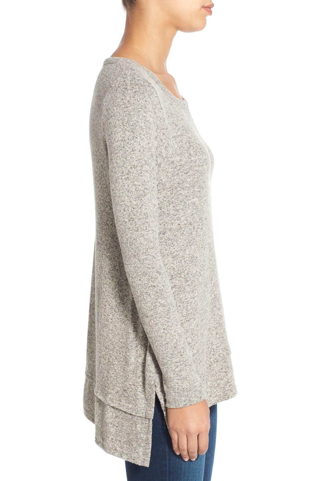 Button Back Fuzzy Fleece Tunic,                             Alternate thumbnail 2, color,                             035