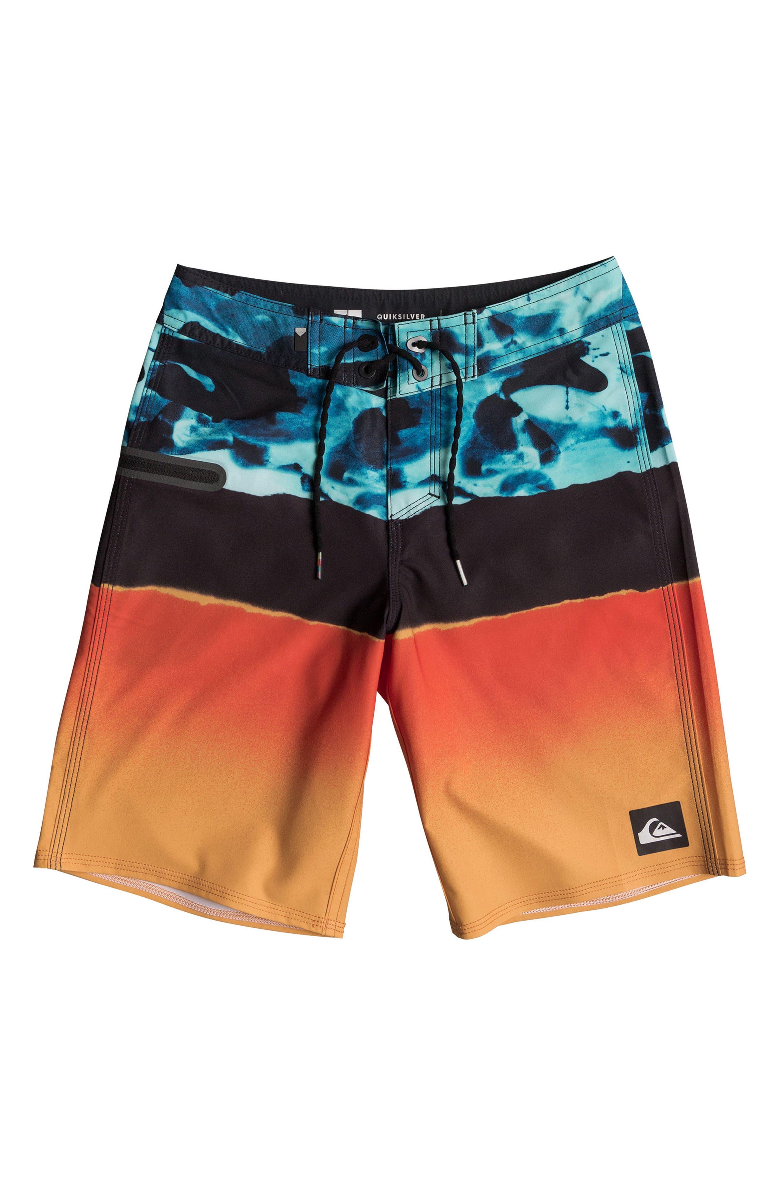 Blocked Resin Camo Board Shorts,                             Main thumbnail 1, color,                             407