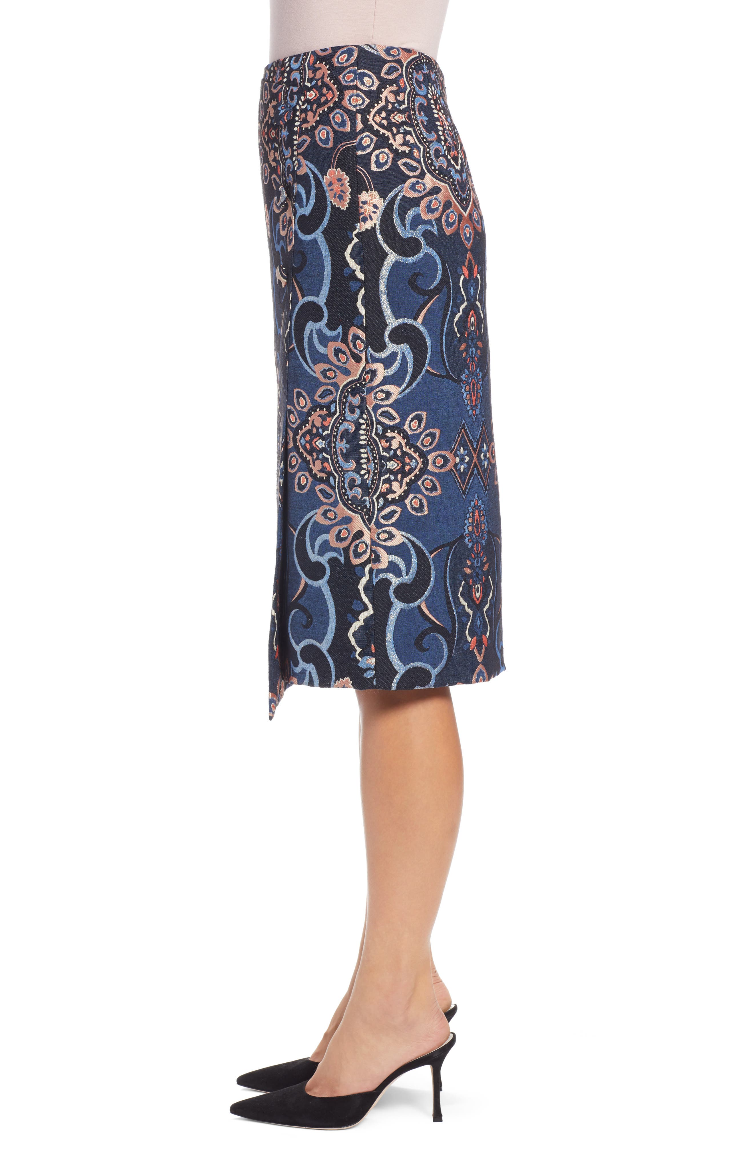 Button Detail Skirt,                             Alternate thumbnail 3, color,                             NAVY MULTI BROCADE