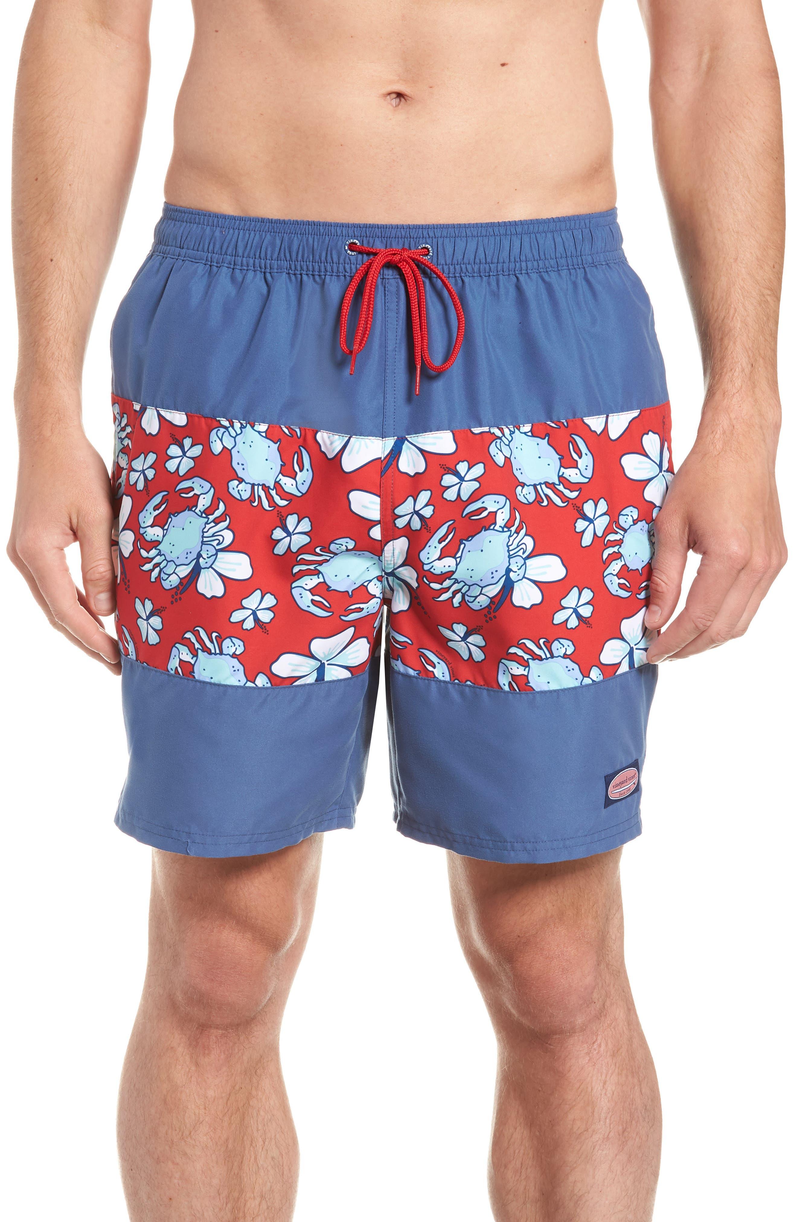 Chappy Crab Piece Swim Trunks,                         Main,                         color, DEEP BAY