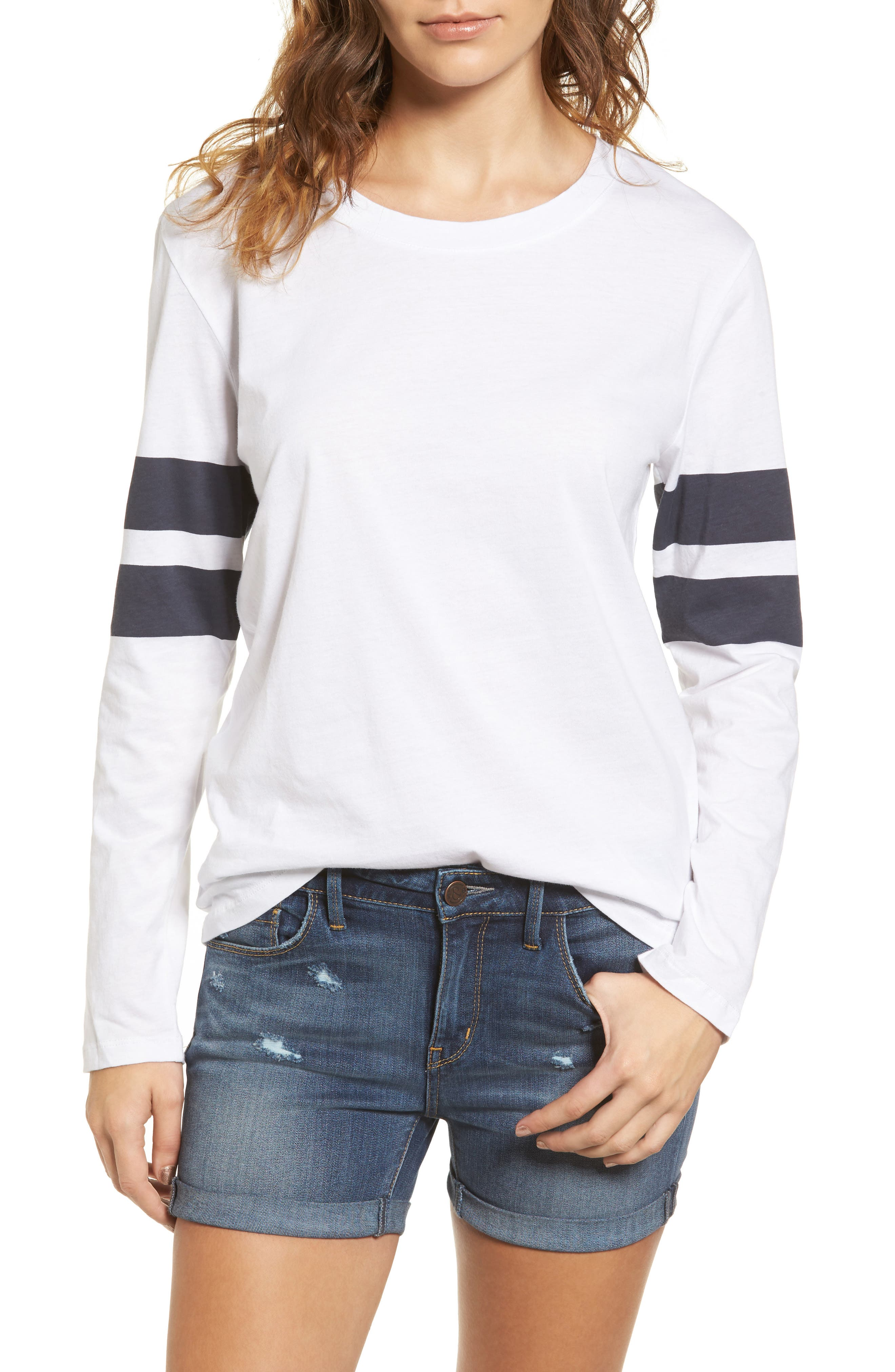 Varsity Stripe Cotton Tee,                             Main thumbnail 18, color,