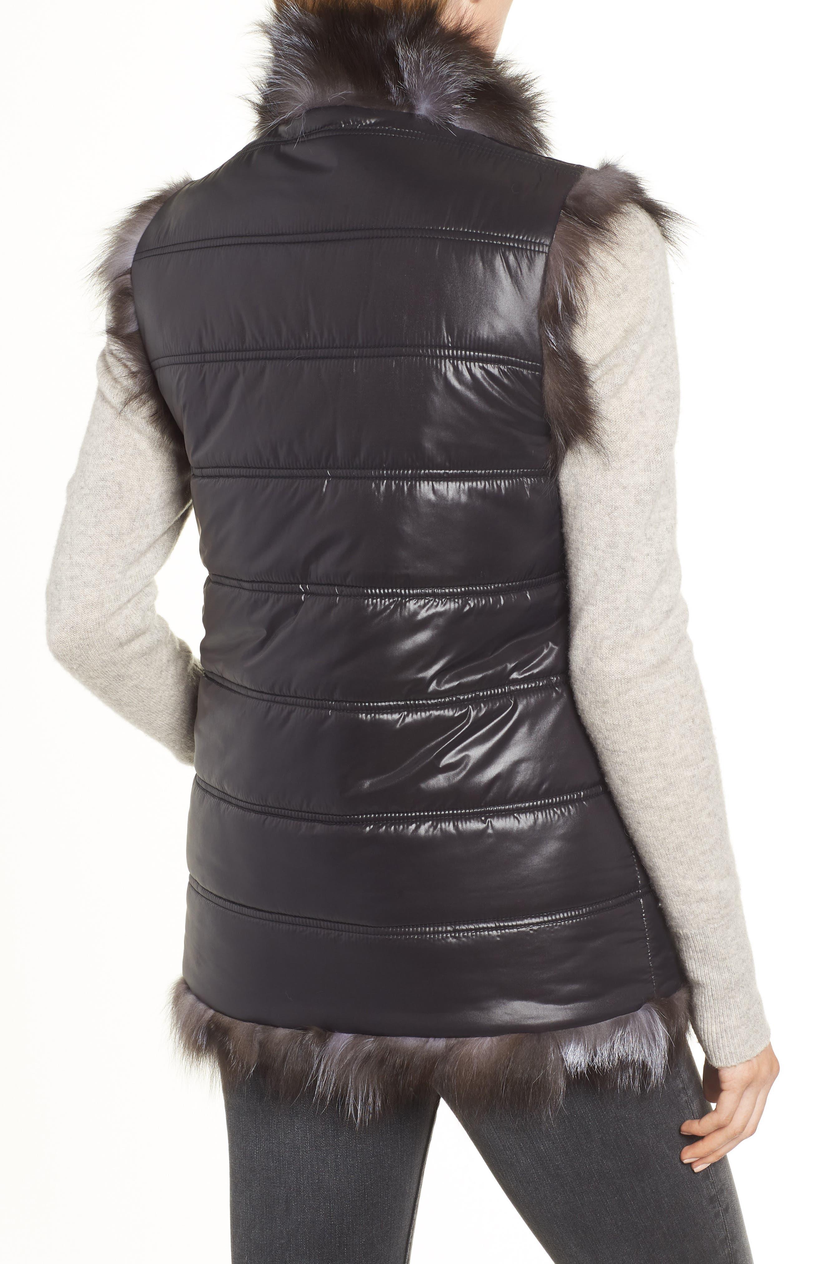LINDA RICHARDS,                             Reversible Genuine Silver Fox Fur Vest,                             Alternate thumbnail 3, color,                             BLACK/ SILVER
