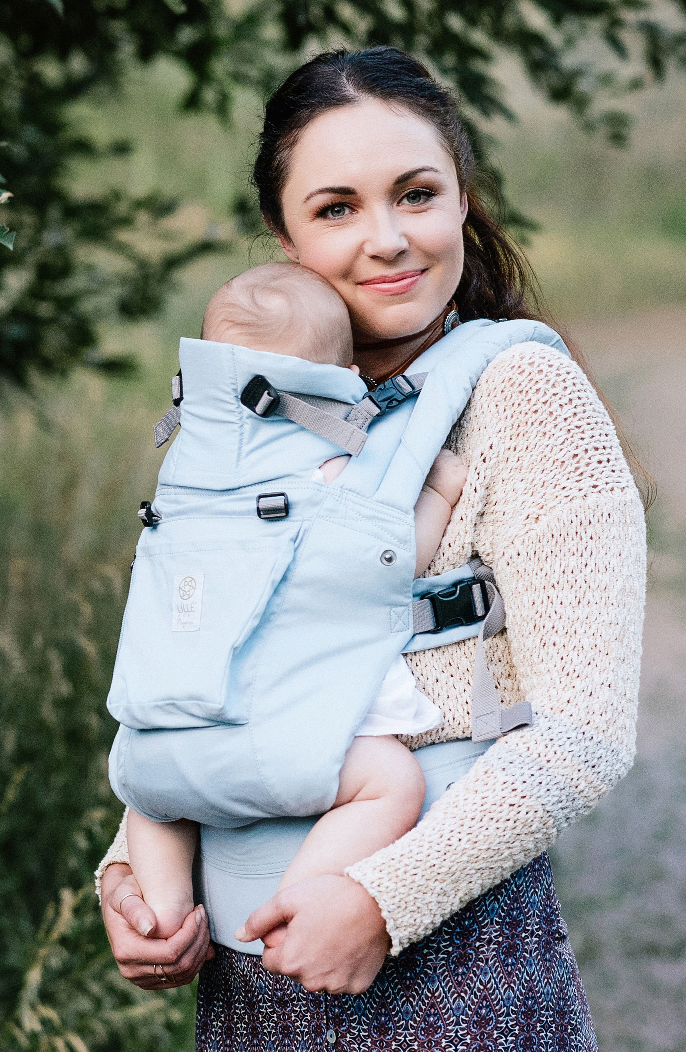 Complete 6-Position Organic Cotton Baby Carrier,                         Main,                         color, POWDER BLUE