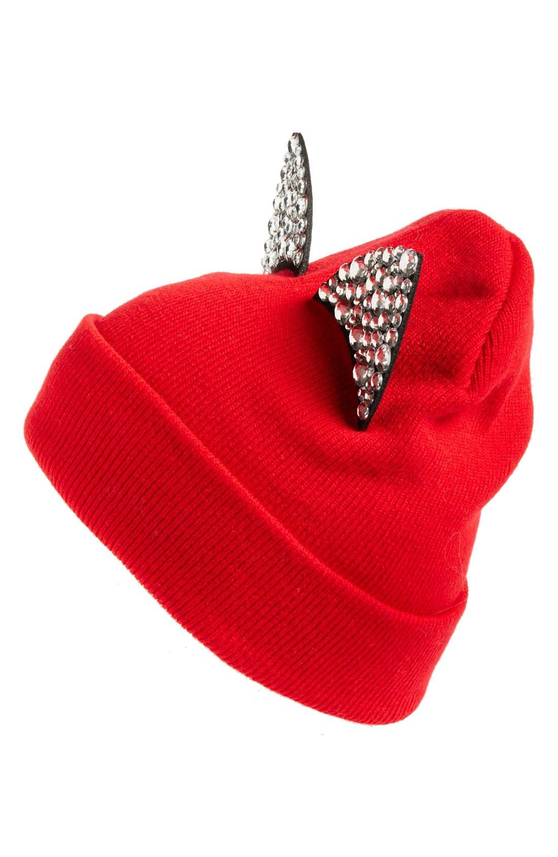 Jeweled Cat Ear Beanie,                             Main thumbnail 3, color,