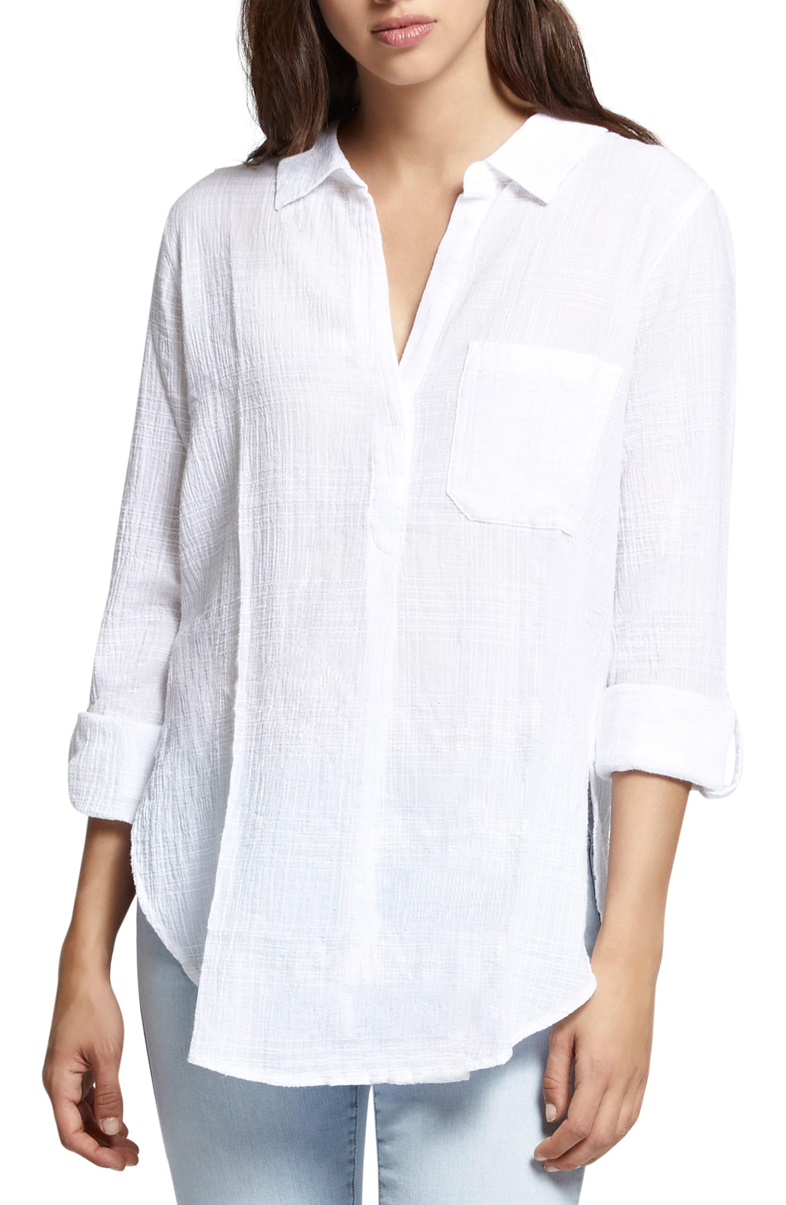 Linen Blend Gauze Tunic Top,                         Main,                         color, 114
