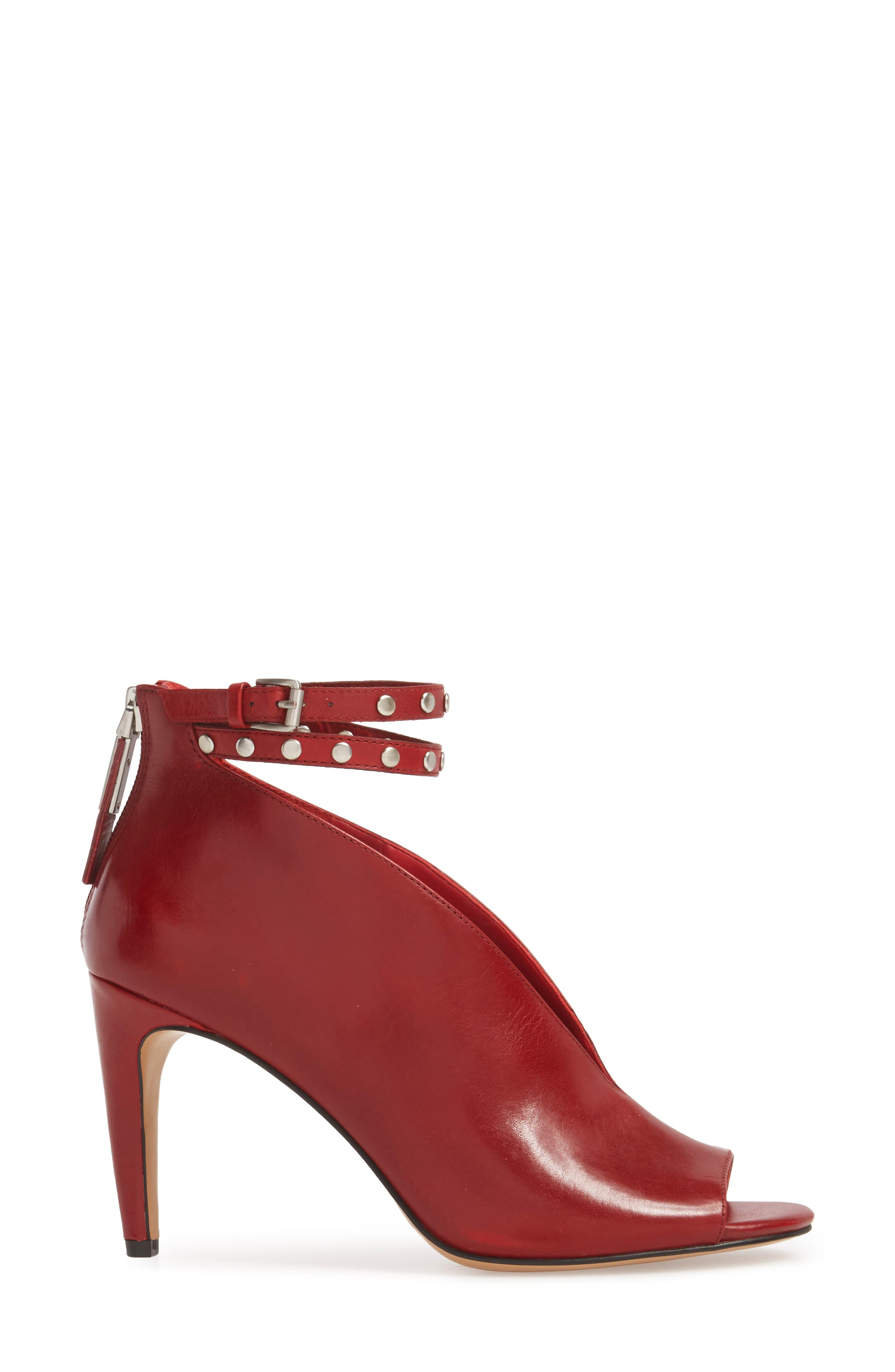 1. STATE Sall Ankle Strap Open Toe Pump,                             Alternate thumbnail 3, color,                             SCARLET LEATHER