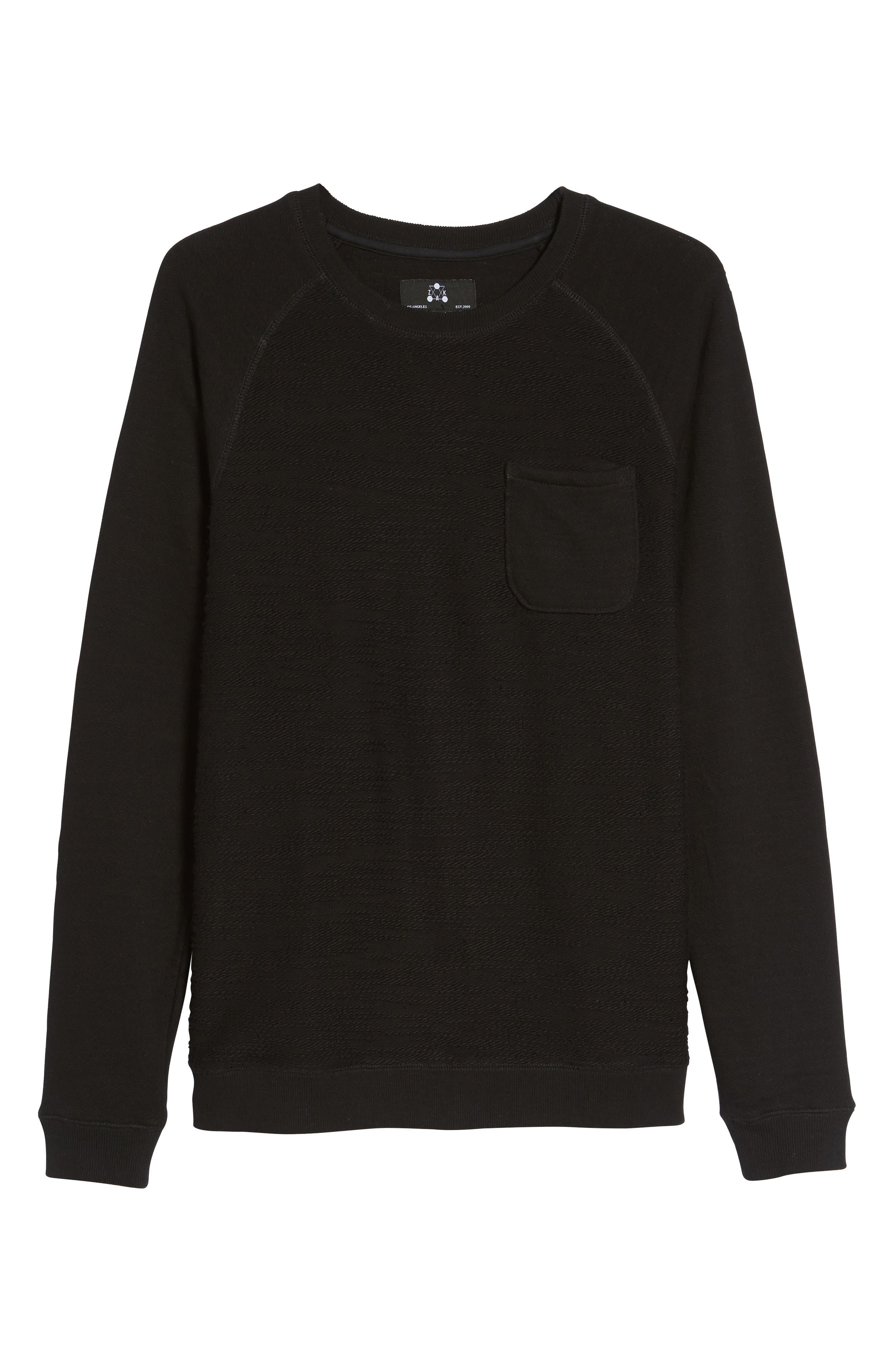 Frey Slubbed Pocket Sweatshirt,                             Alternate thumbnail 6, color,                             001