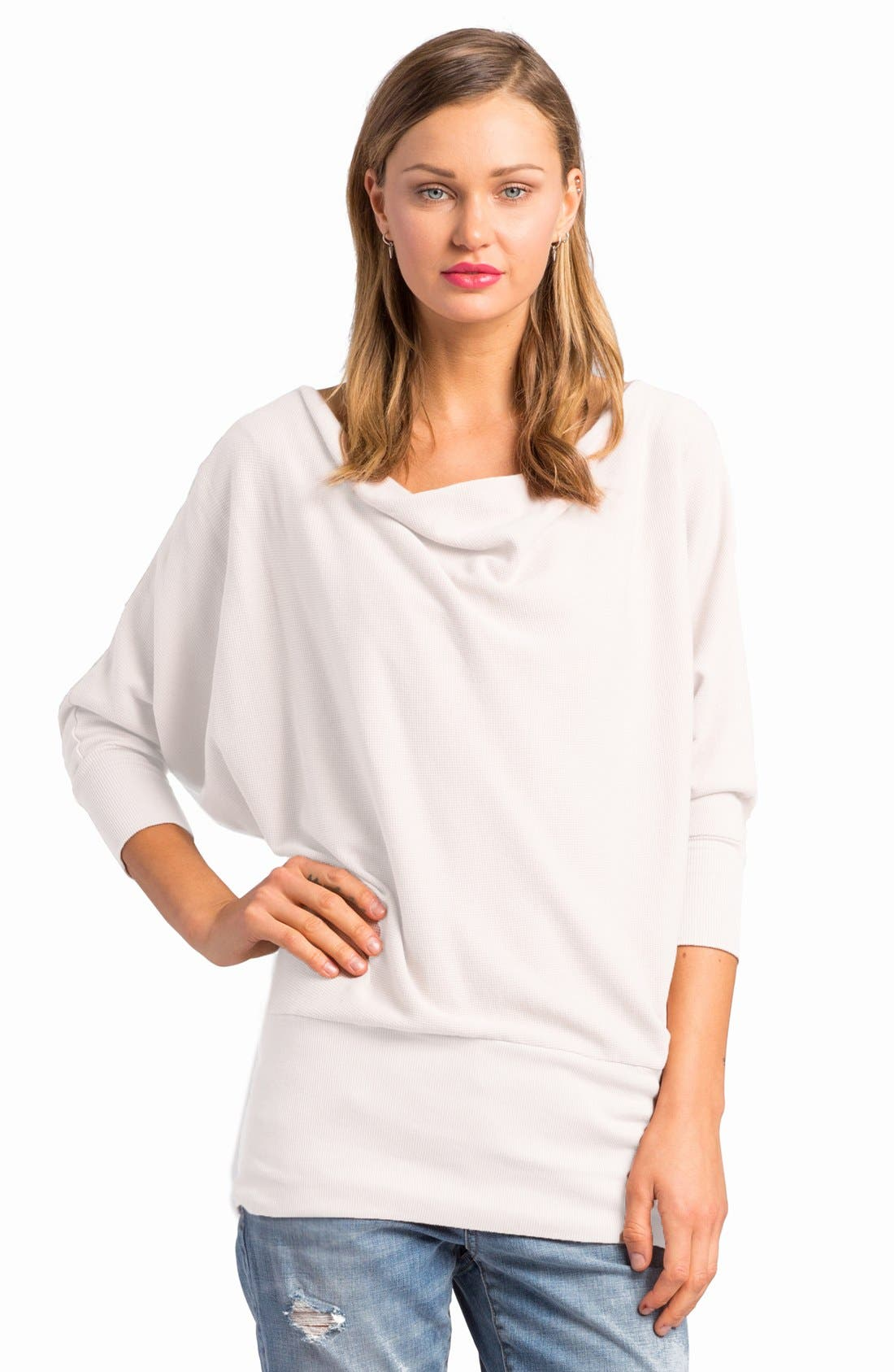 'Aidan' Drape Neck Thermal Top,                             Main thumbnail 2, color,