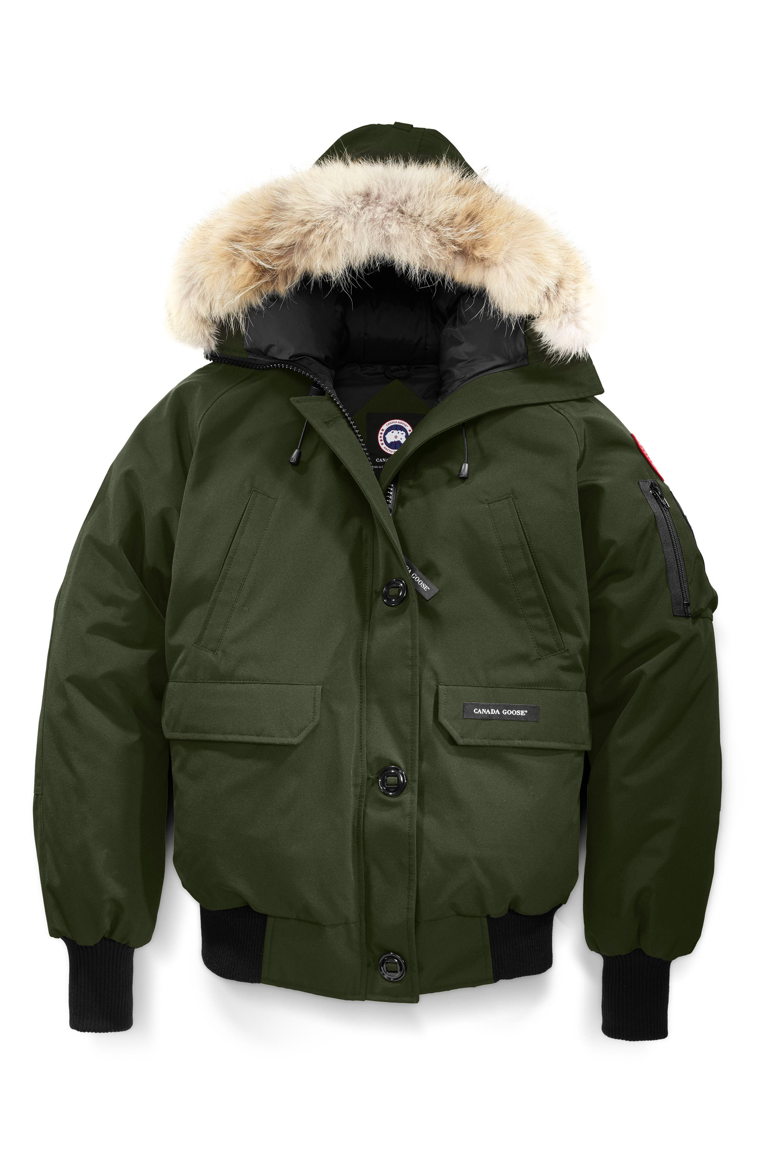 Chilliwack Hooded Down Bomber Jacket with Genuine Coyote Fur Trim,                             Alternate thumbnail 4, color,                             MILITARY GREEN