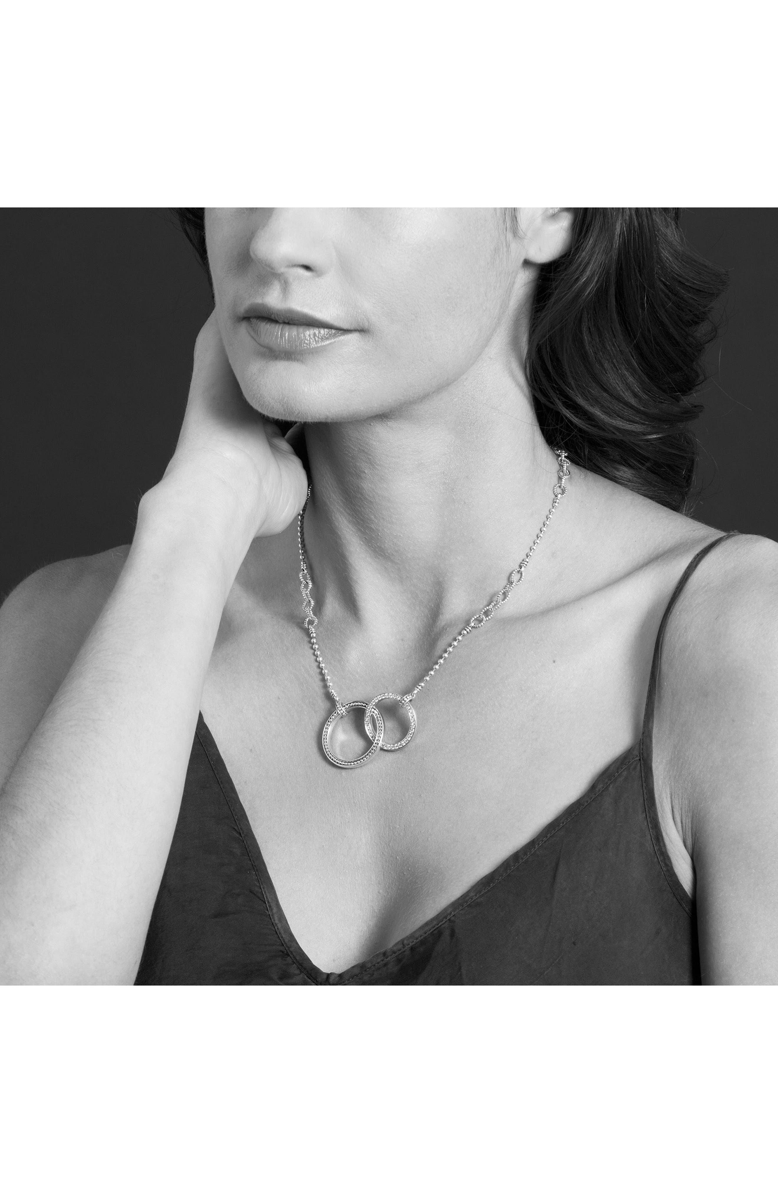 Enso Diamond Pendant Necklace,                             Alternate thumbnail 3, color,                             SILVER