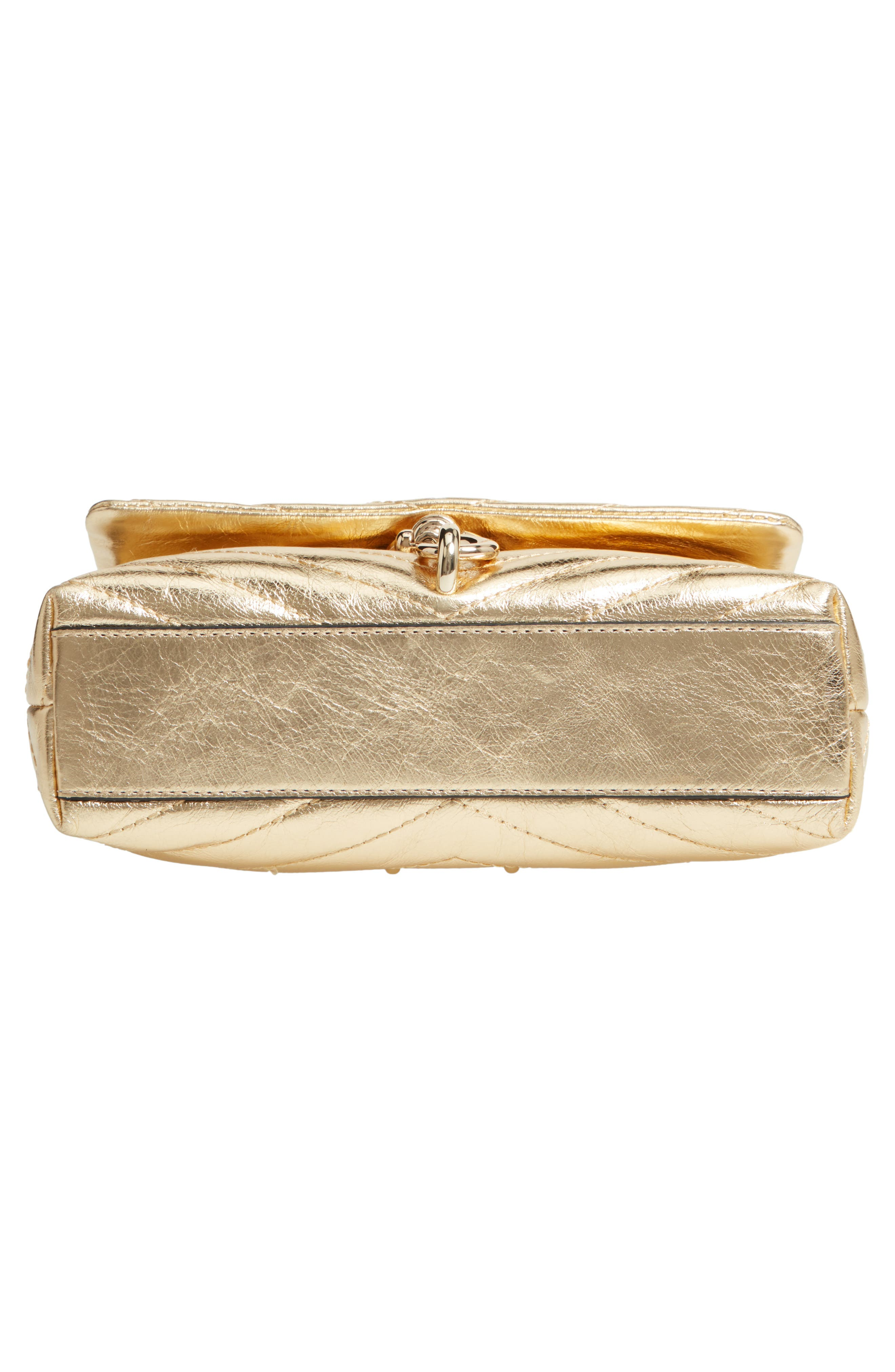 Edie Metallic Leather Shoulder Bag,                             Alternate thumbnail 6, color,                             GOLD