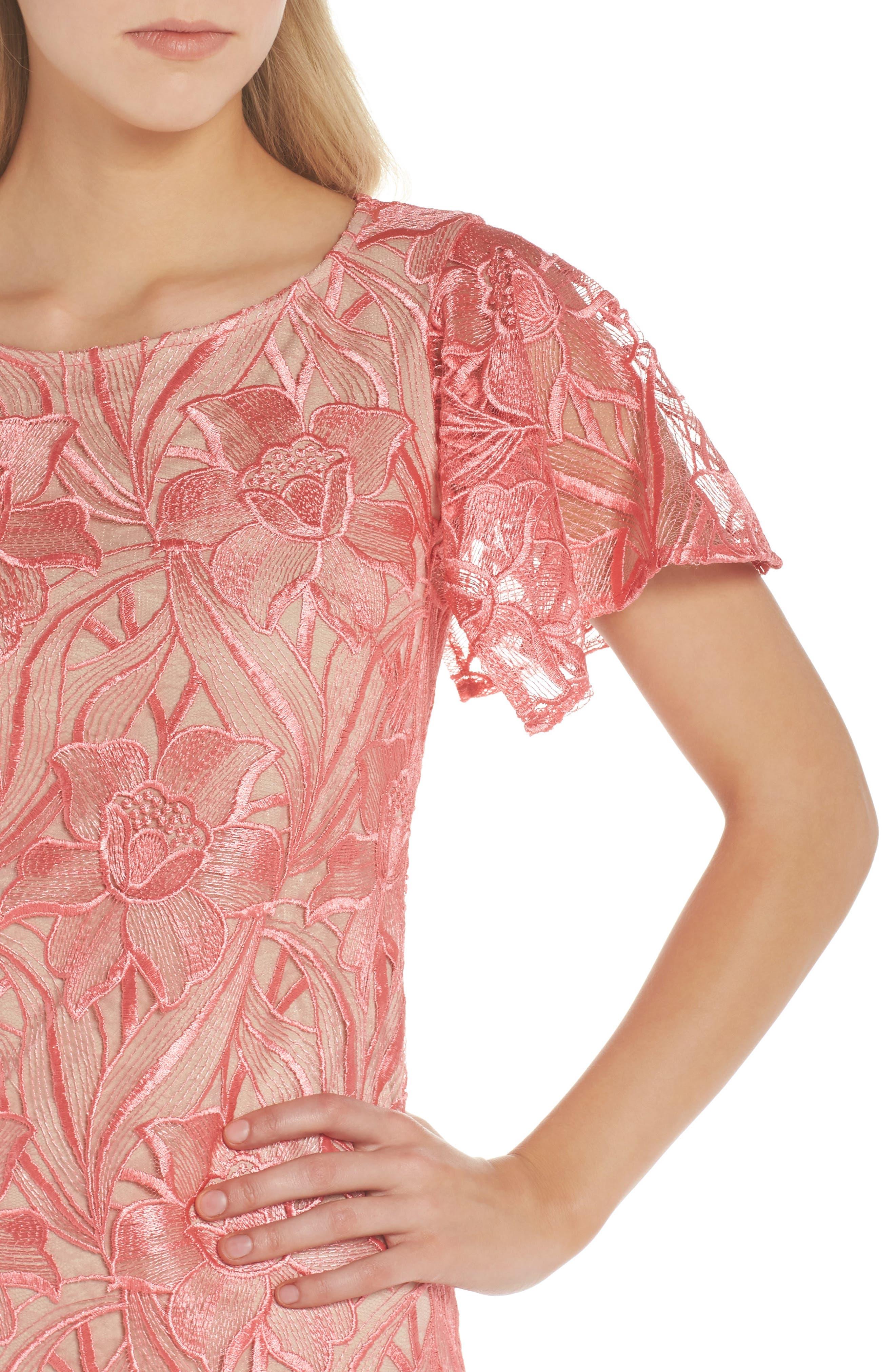 Floral Mesh Lace Shift Dress,                             Alternate thumbnail 4, color,                             950