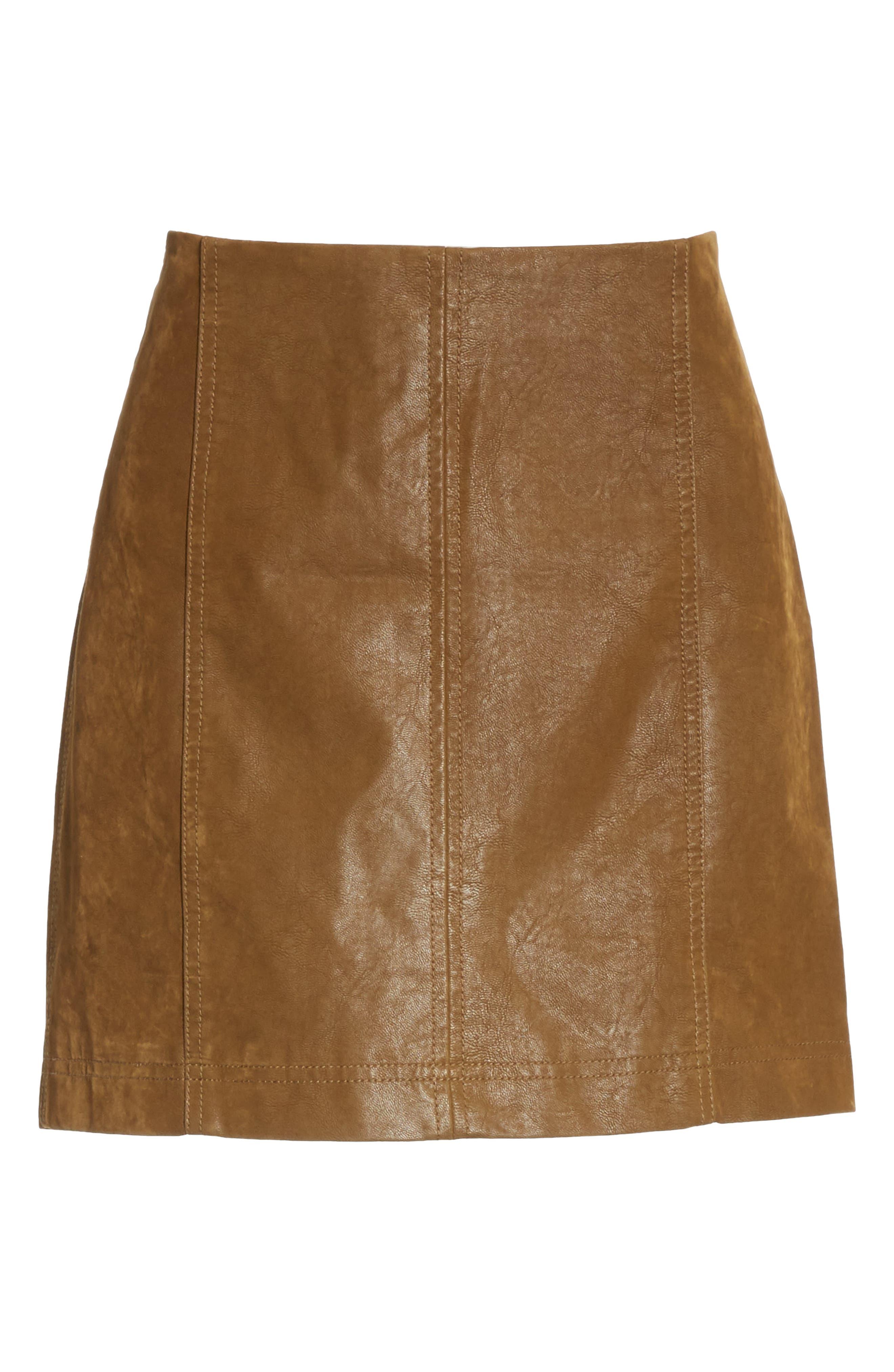 Faux Leather Miniskirt,                             Alternate thumbnail 6, color,                             394