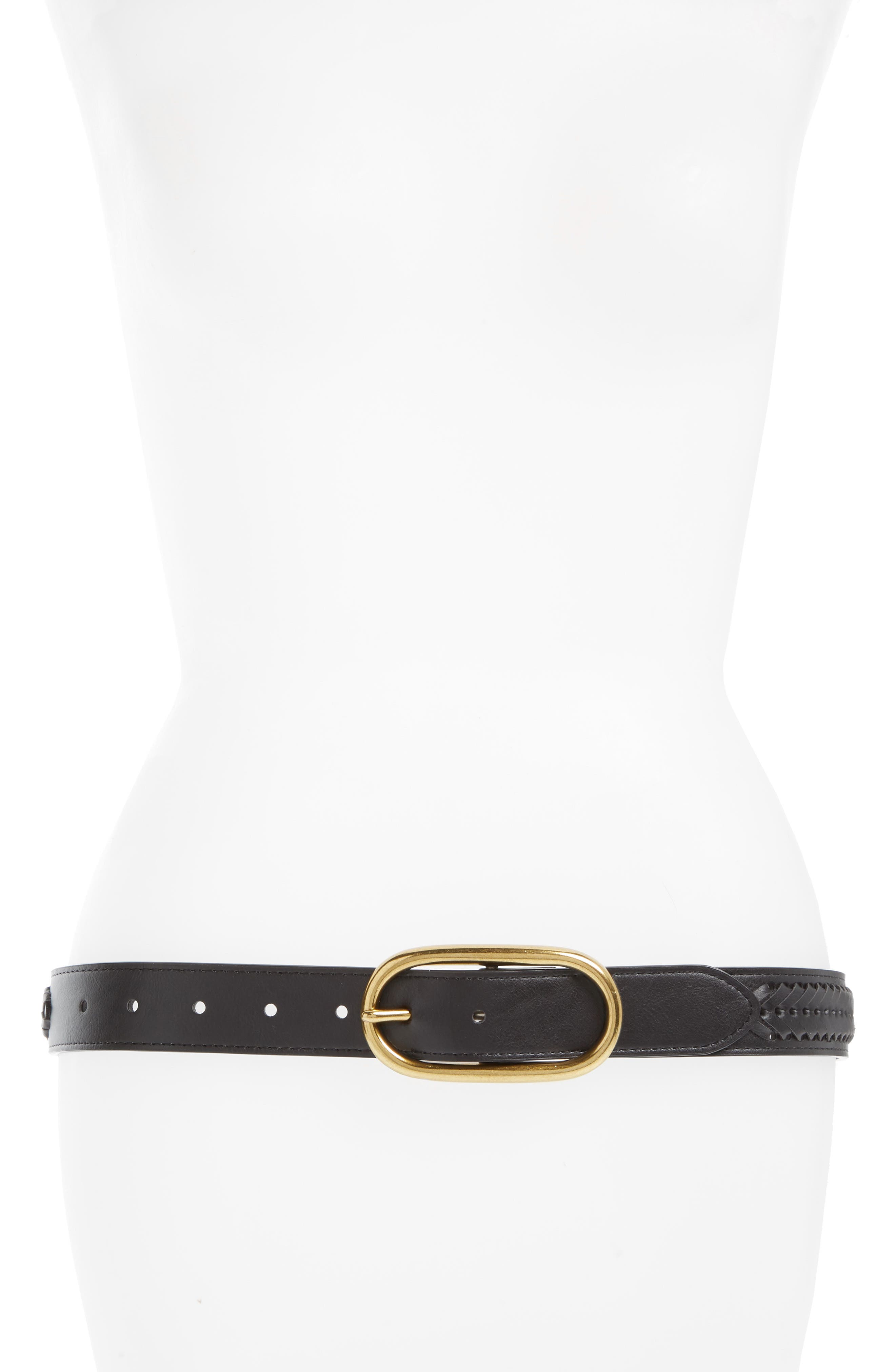 Oval Buckle Whipstitched Faux Leather Belt,                         Main,                         color, BLACK