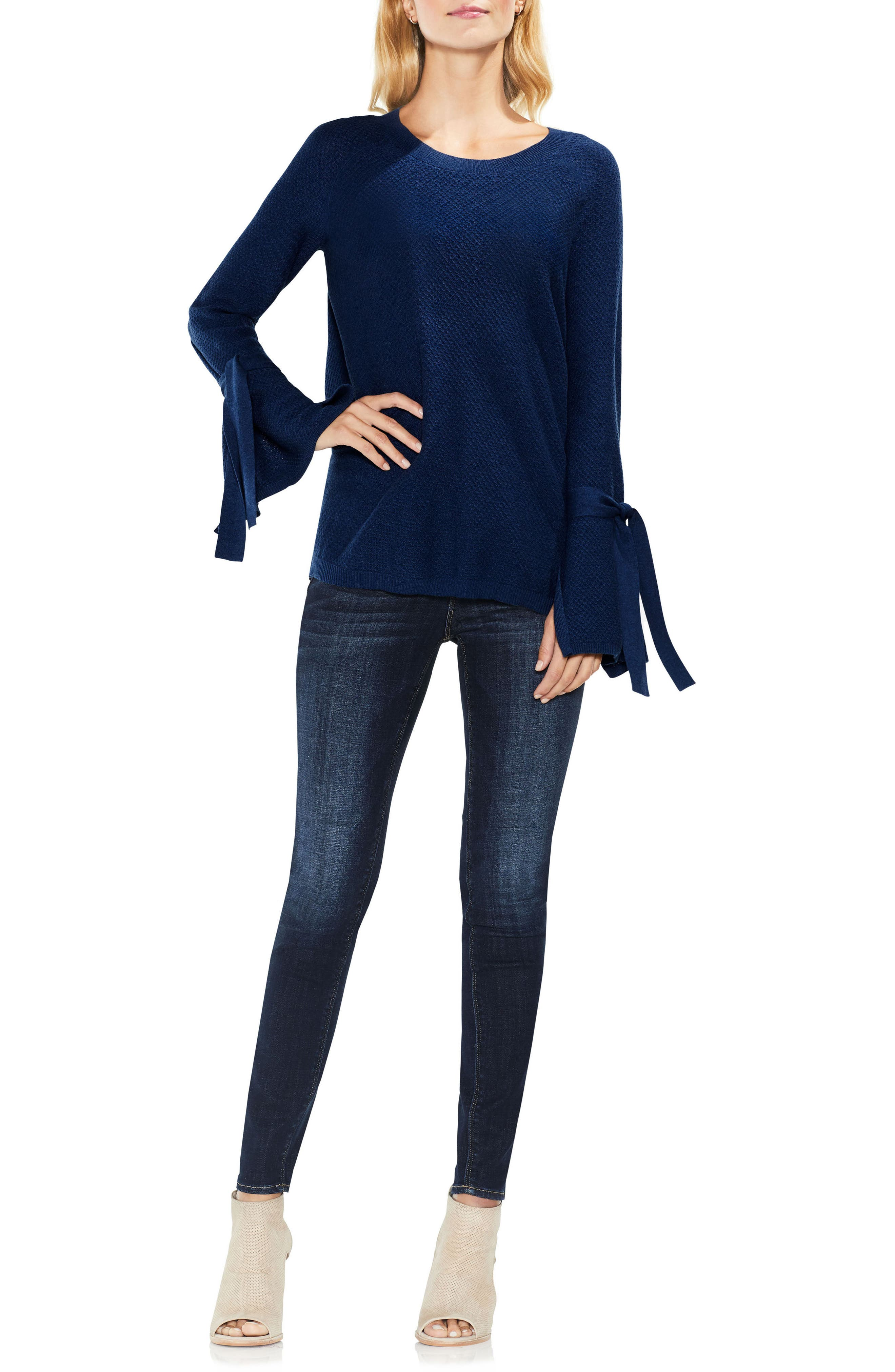 Texture Stitch Tie-Sleeve Top,                             Alternate thumbnail 14, color,