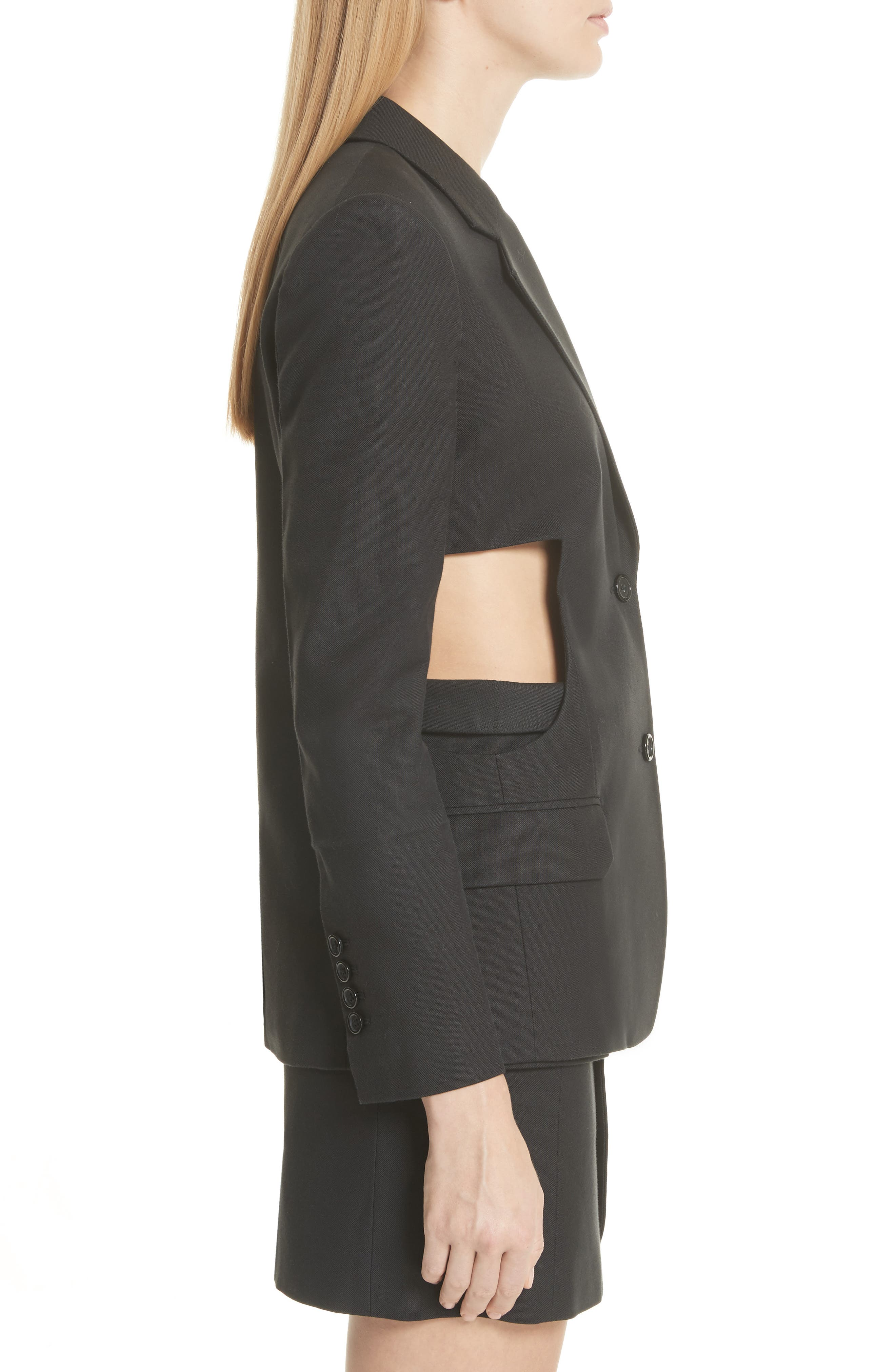 HELMUT LANG,                             Cutout Waist Blazer,                             Alternate thumbnail 3, color,                             001