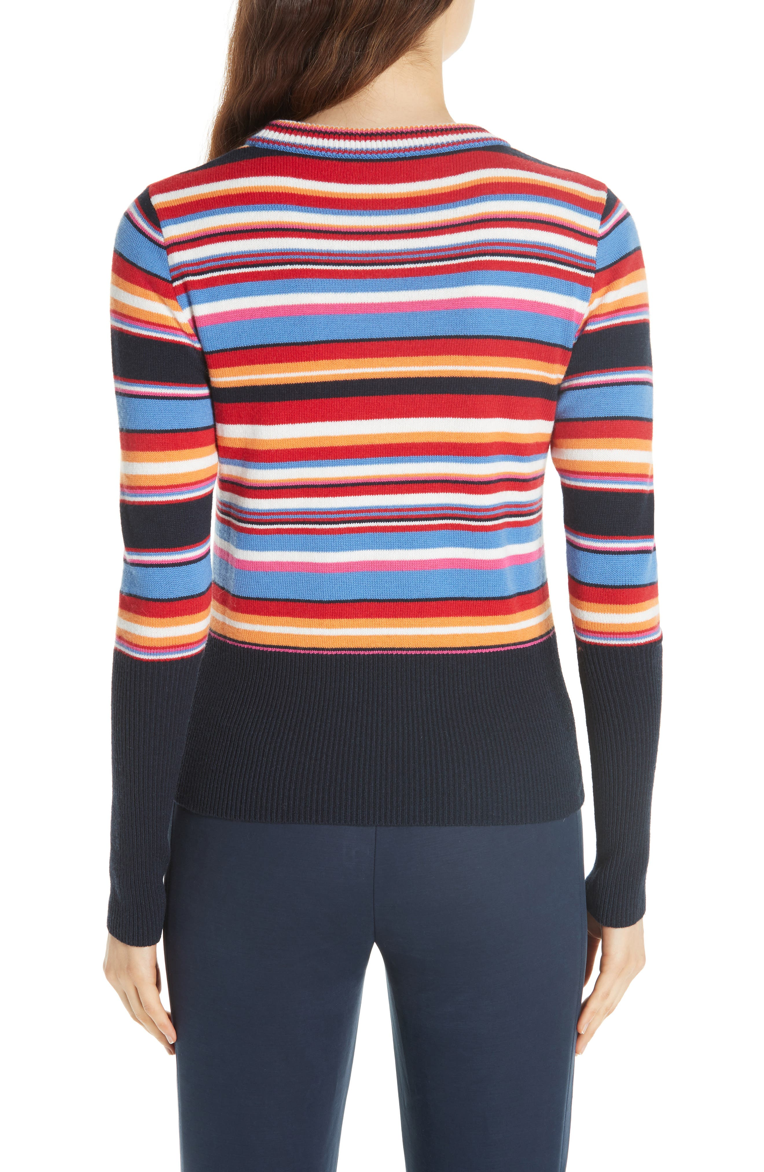 Kit Stripe Scoop Neck Sweater,                             Alternate thumbnail 2, color,                             TORY NAY