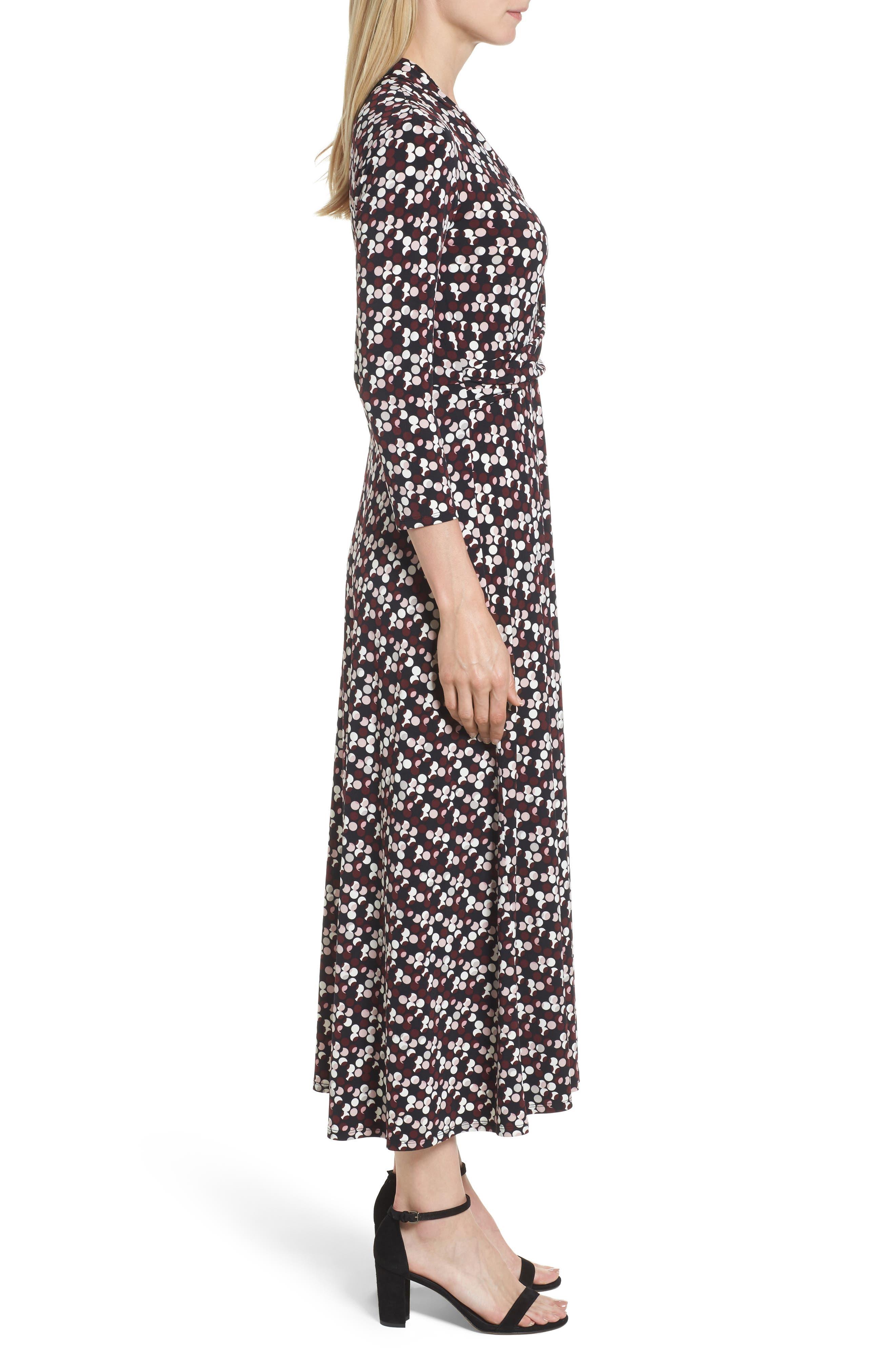 Dot Print Midi Dress,                             Alternate thumbnail 3, color,                             006