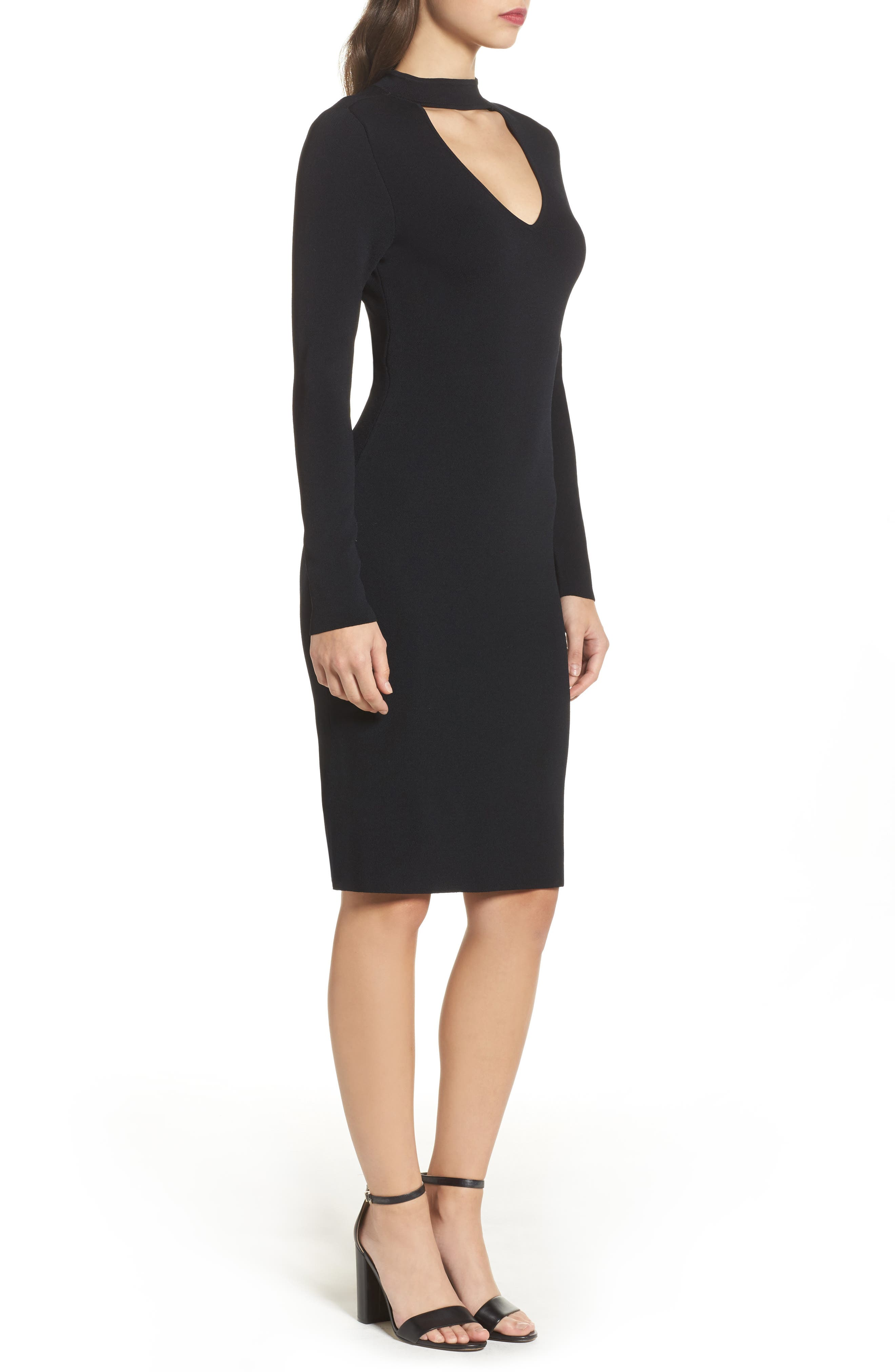 Choker Collar Sheath Dress,                             Alternate thumbnail 3, color,                             001