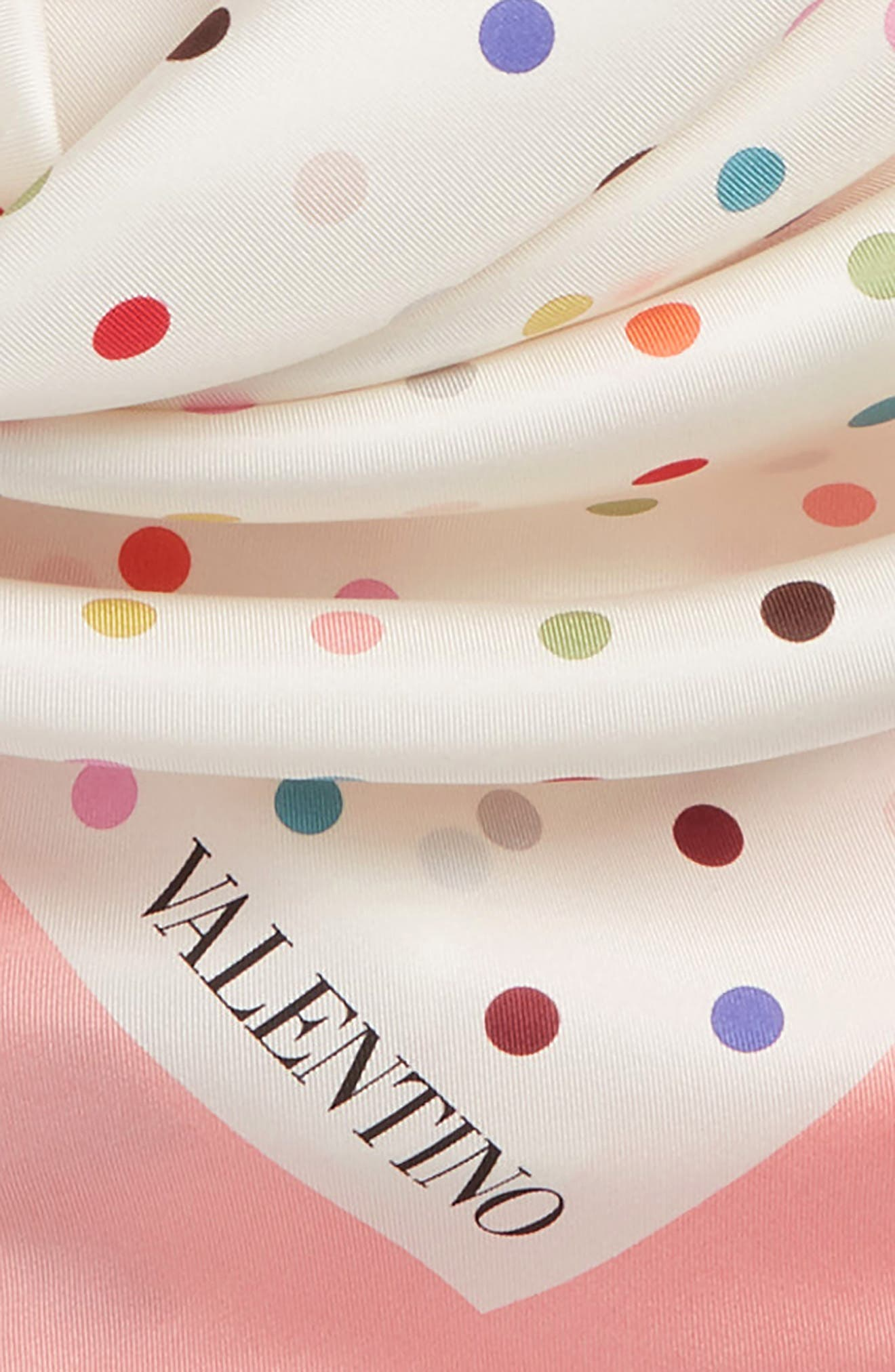 Rainbow Dots Silk Scarf,                             Alternate thumbnail 6, color,