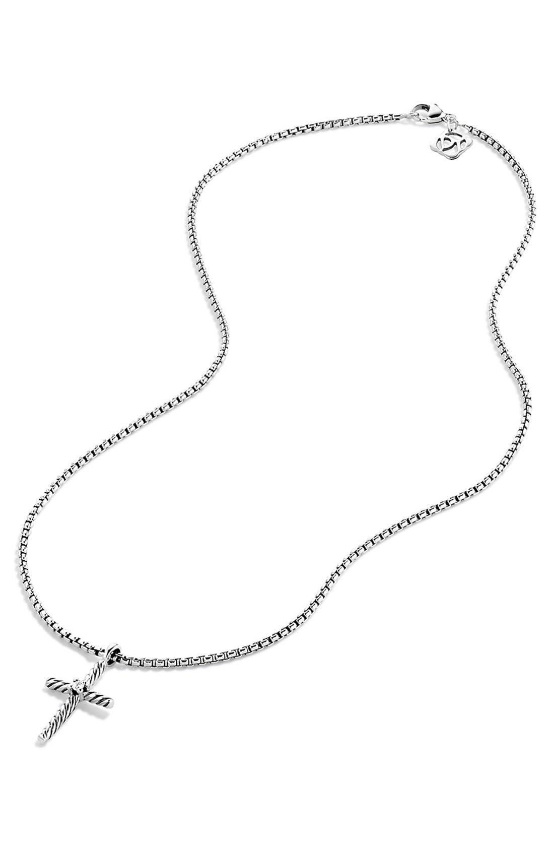 'Cable Classics' Cross with Diamond on Chain,                             Alternate thumbnail 2, color,                             DIAMOND