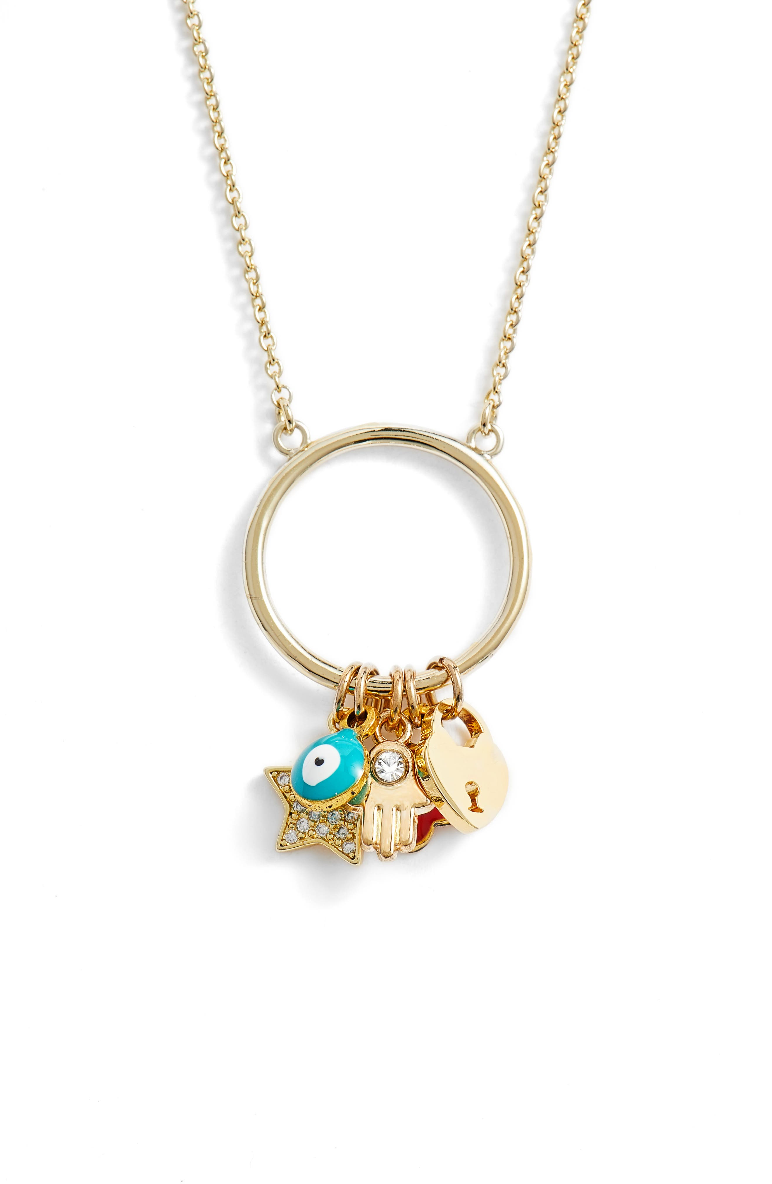 Cara Charm Pendant Necklace,                             Main thumbnail 1, color,                             GOLD