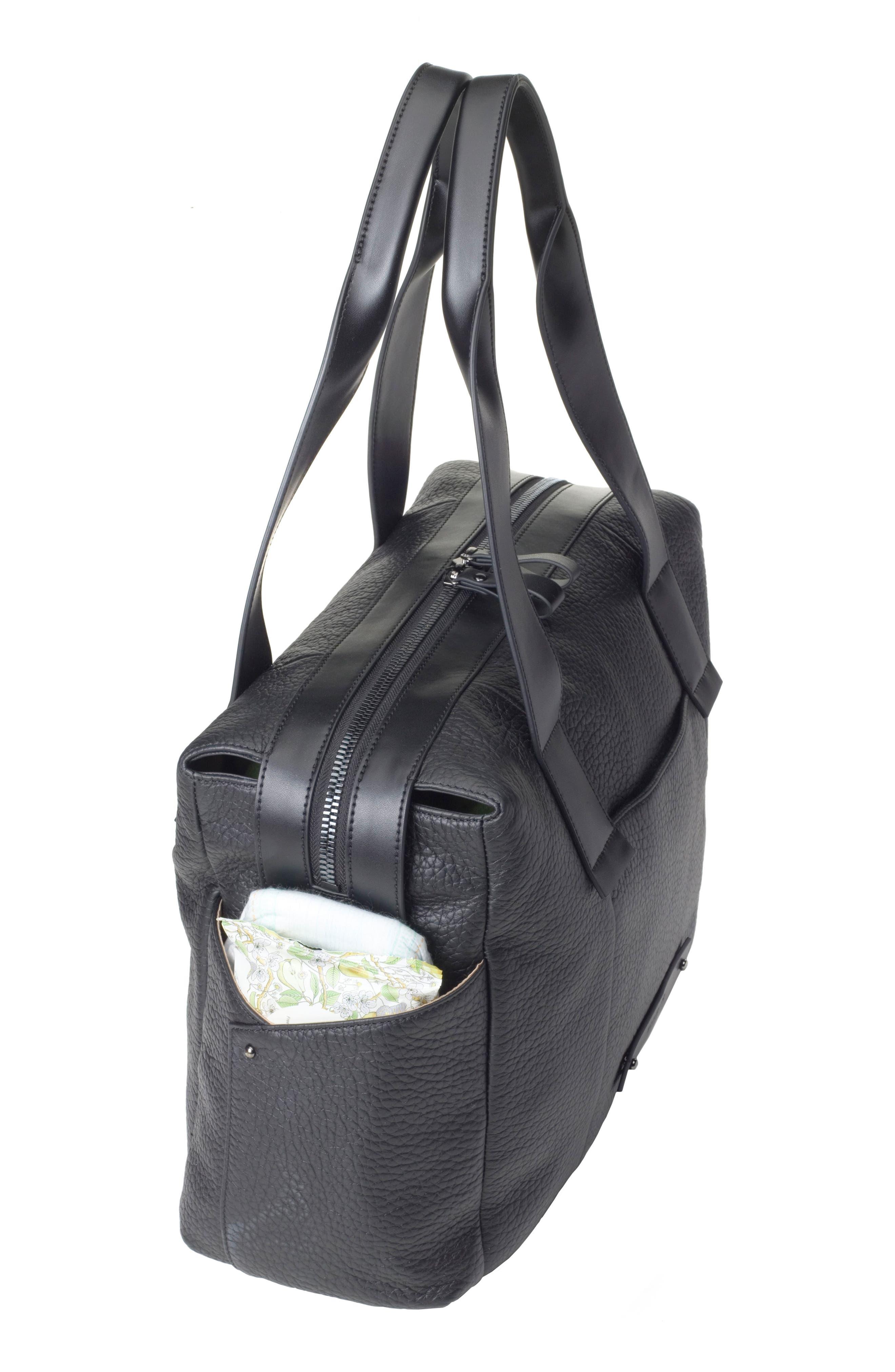 Kym Calfskin Leather Diaper Tote Bag,                             Alternate thumbnail 15, color,                             BLACK