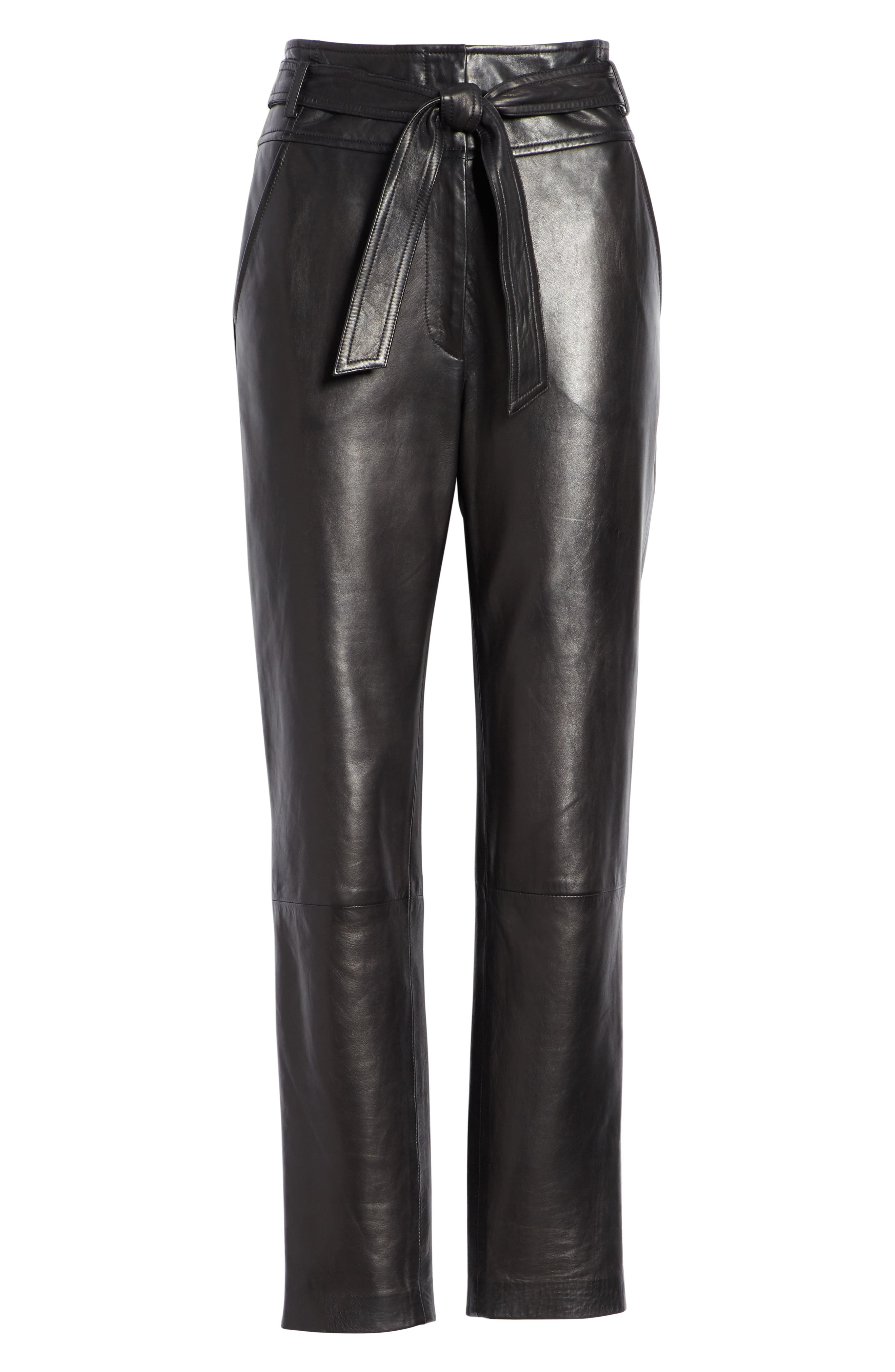 Faxon Leather Pants,                             Alternate thumbnail 6, color,                             BLACK