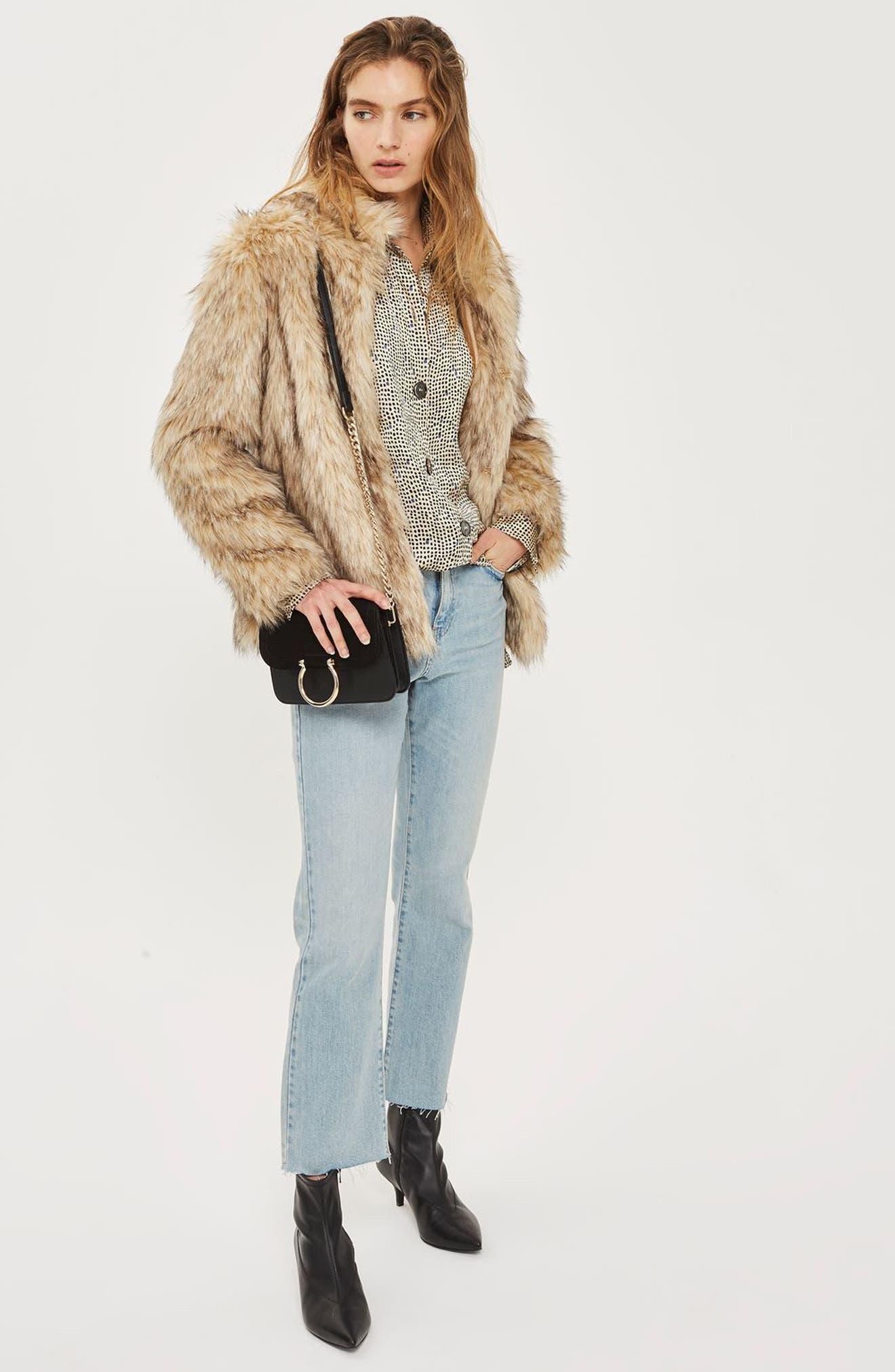 Kendall Faux Fur Jacket,                             Alternate thumbnail 6, color,                             270