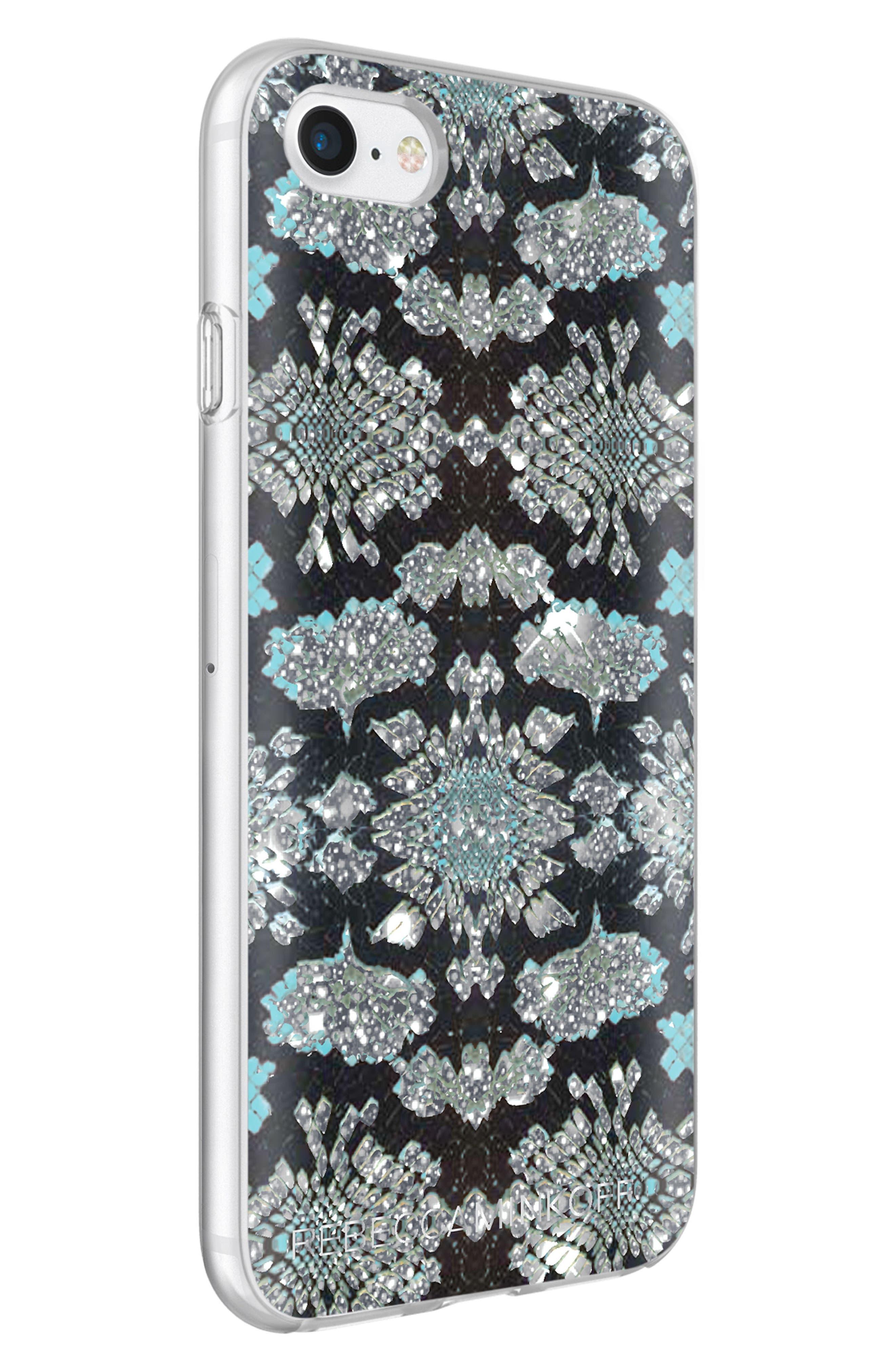 Glitter Snakeskin Print iPhone 7/8 & 7/8 Plus Case,                             Alternate thumbnail 3, color,