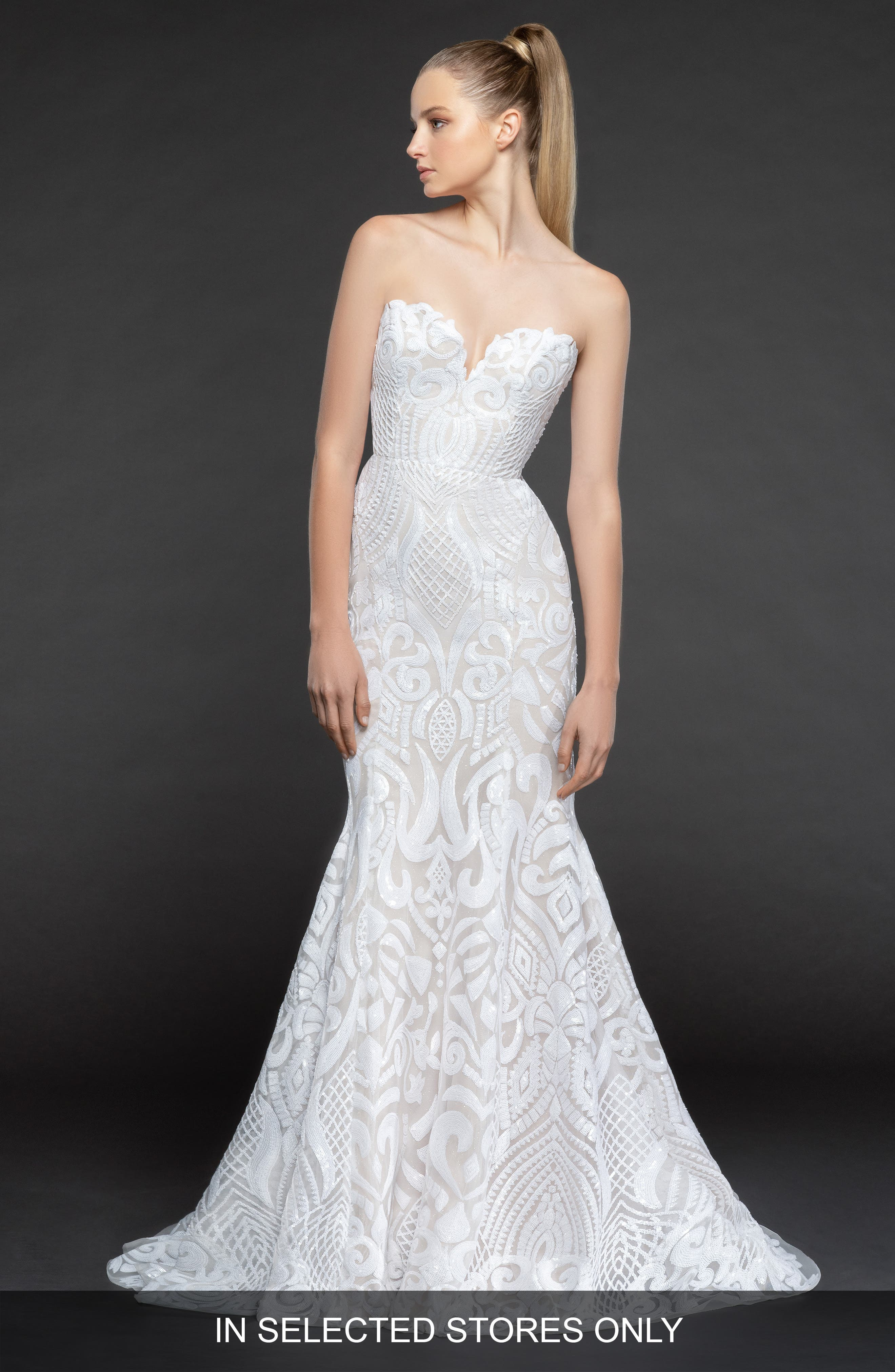 Blush By Hayley Paige Safyr Embellished Trumpet Gown, Size IN STORE ONLY - Ivory