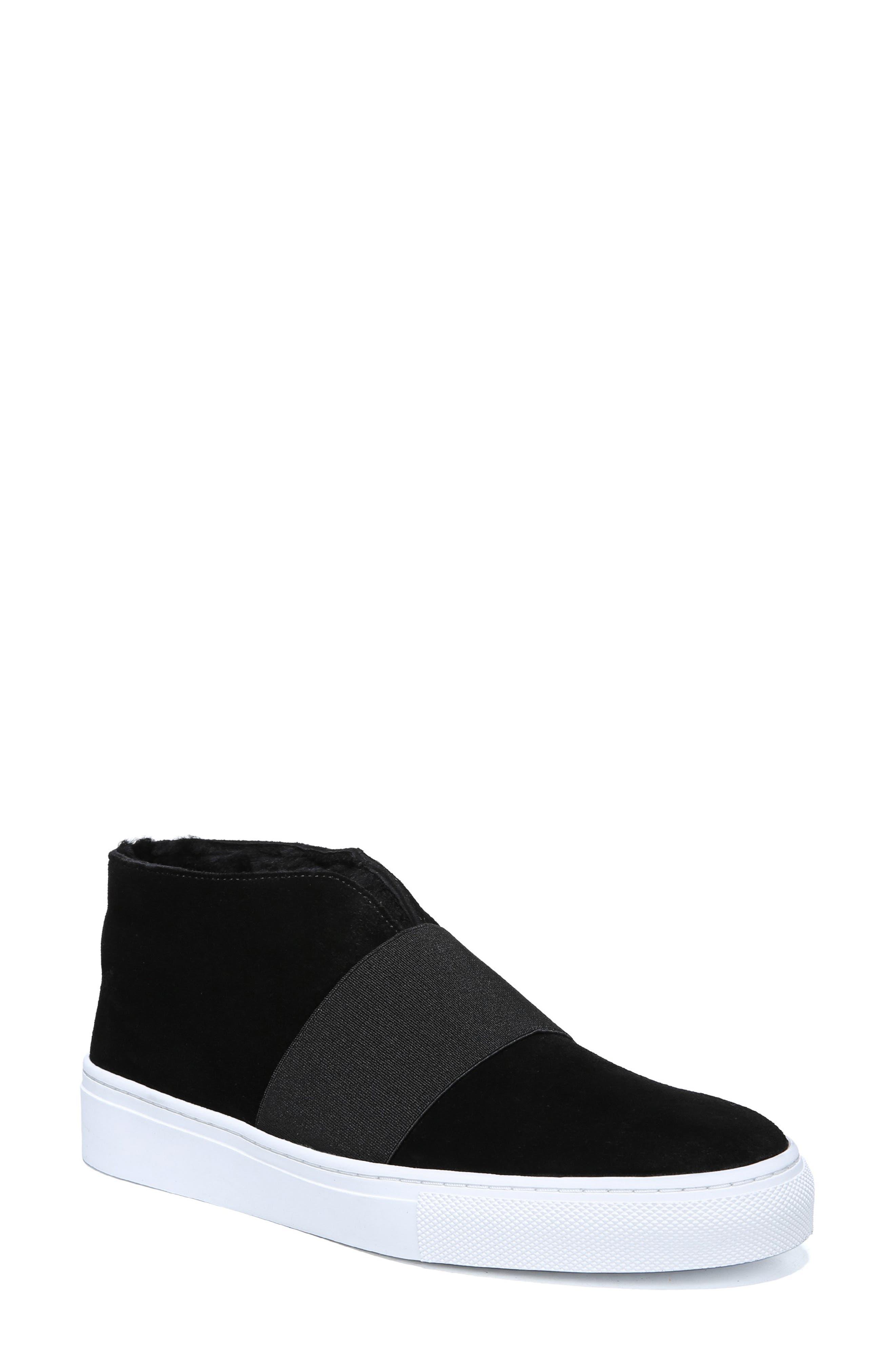 VIA SPIGA Sayer Genuine Shearling Slip-On Sneaker in Black