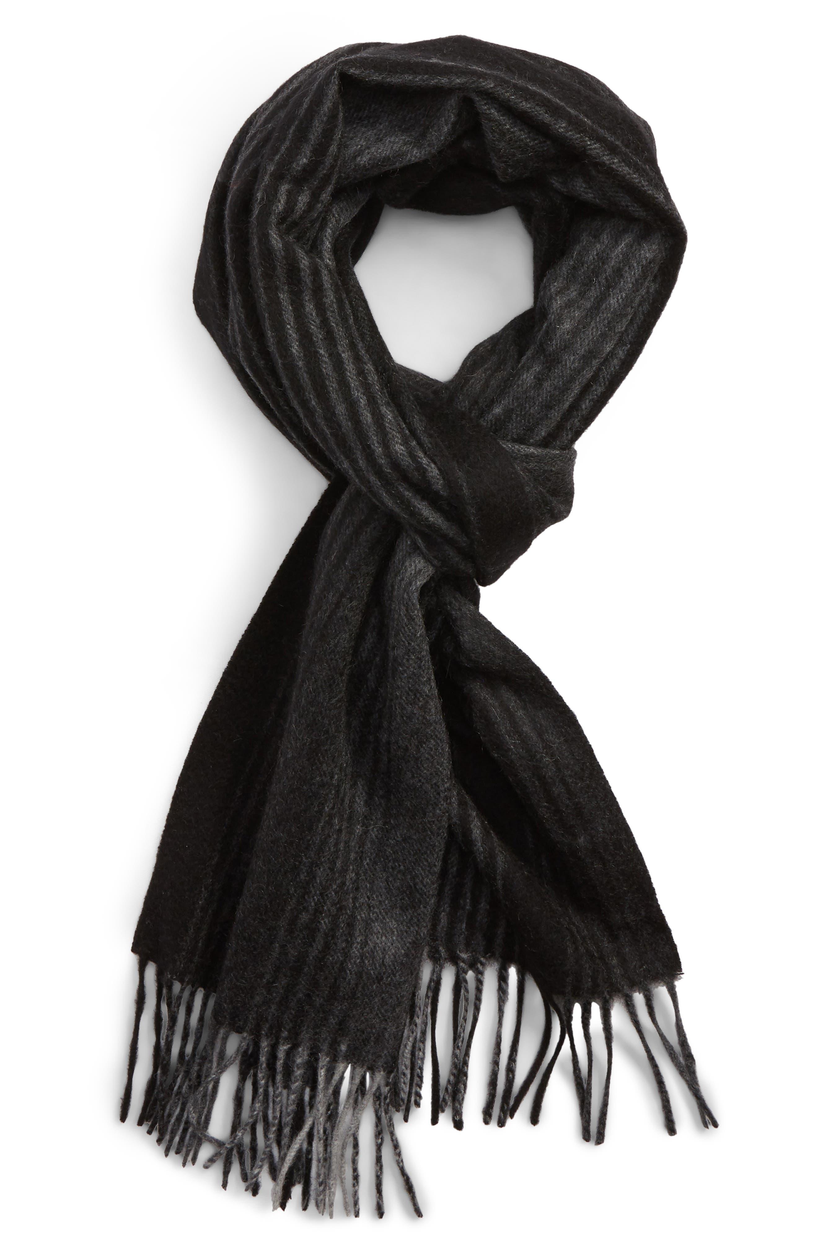 Ombré Stripe Cashmere Scarf,                             Main thumbnail 1, color,                             BLACK