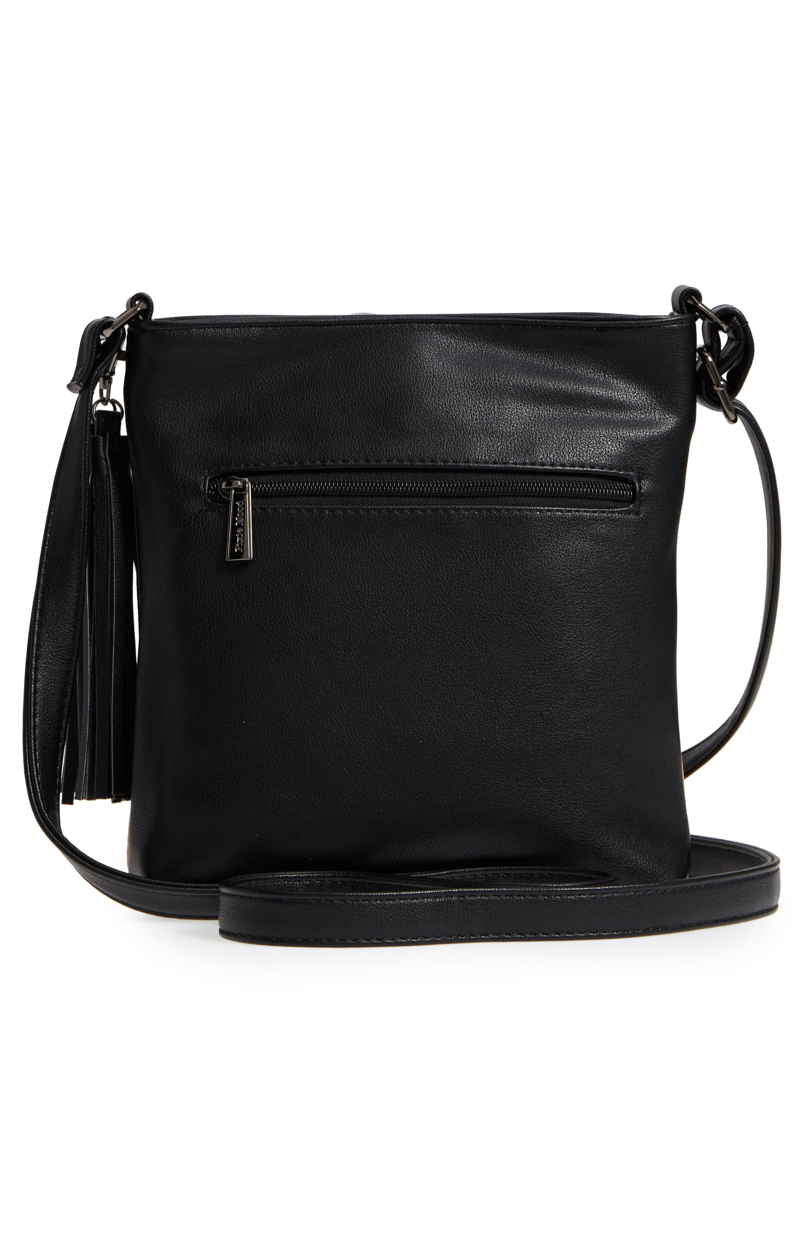 Claudia Faux Leather Crossbody Bag,                             Alternate thumbnail 3, color,                             001