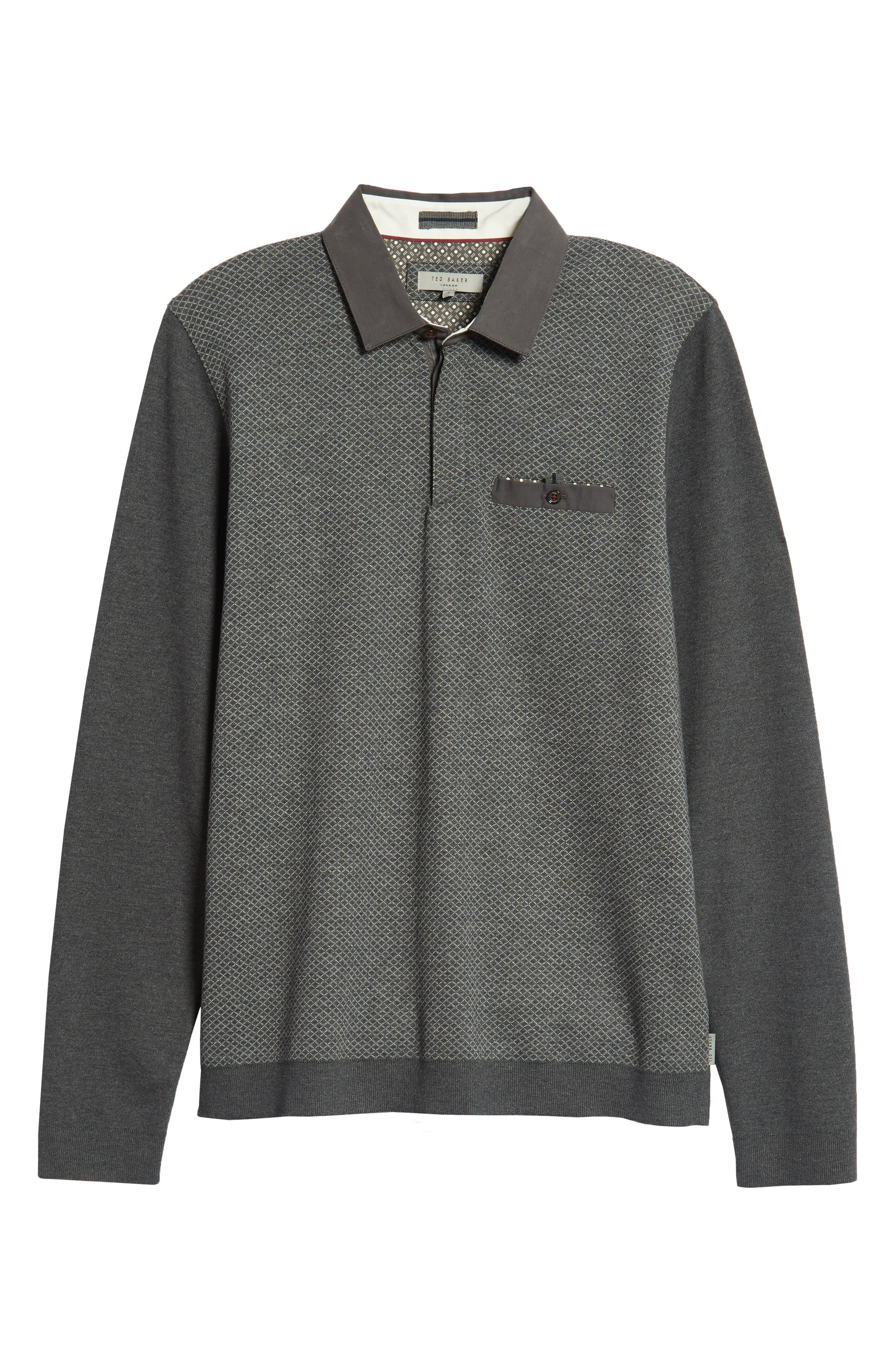 Friend Slim Fit Long Sleeve Polo,                             Alternate thumbnail 6, color,                             CHARCOAL