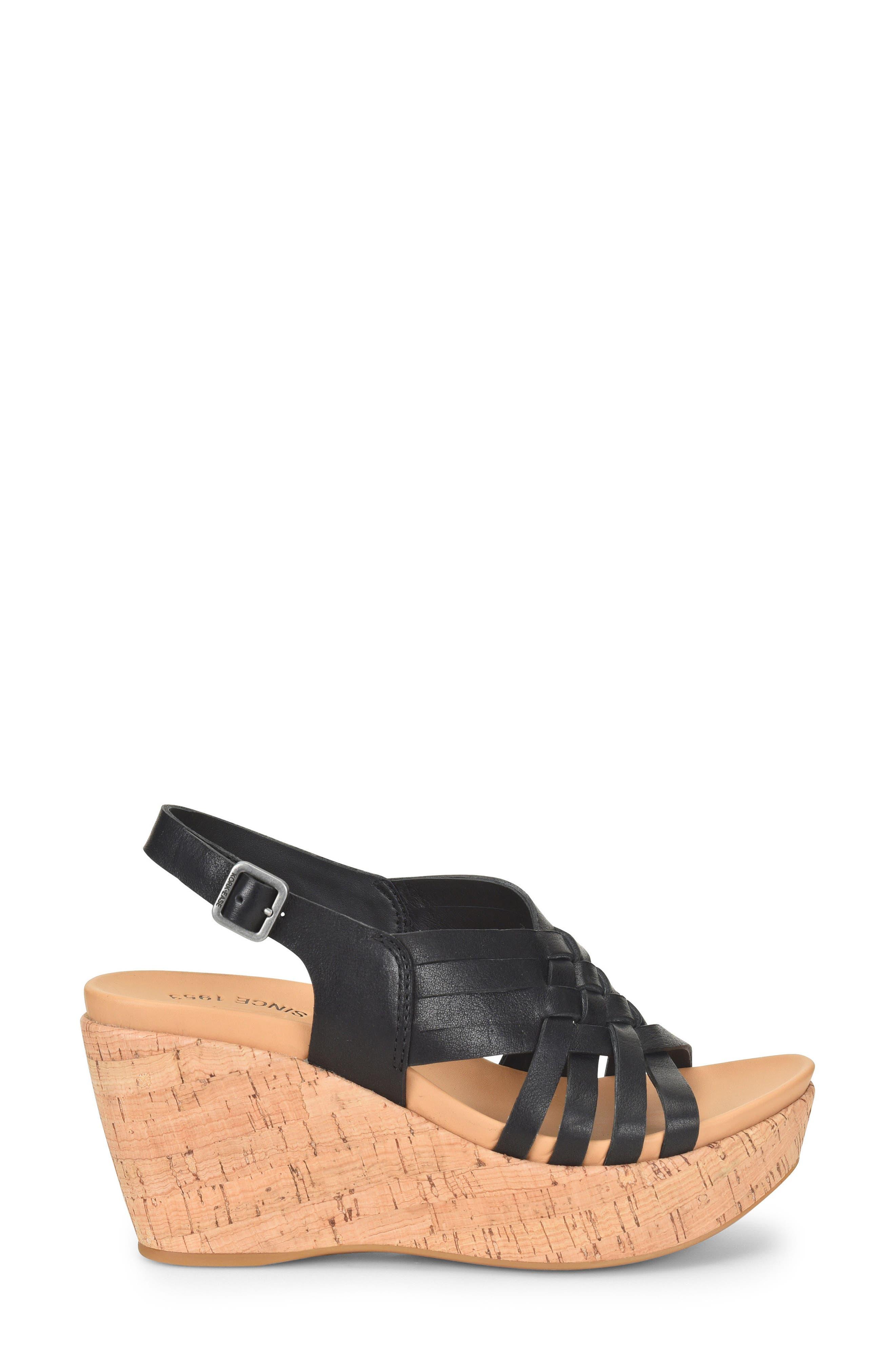 Adelanto Wedge Sandal,                             Alternate thumbnail 3, color,                             BLACK LEATHER
