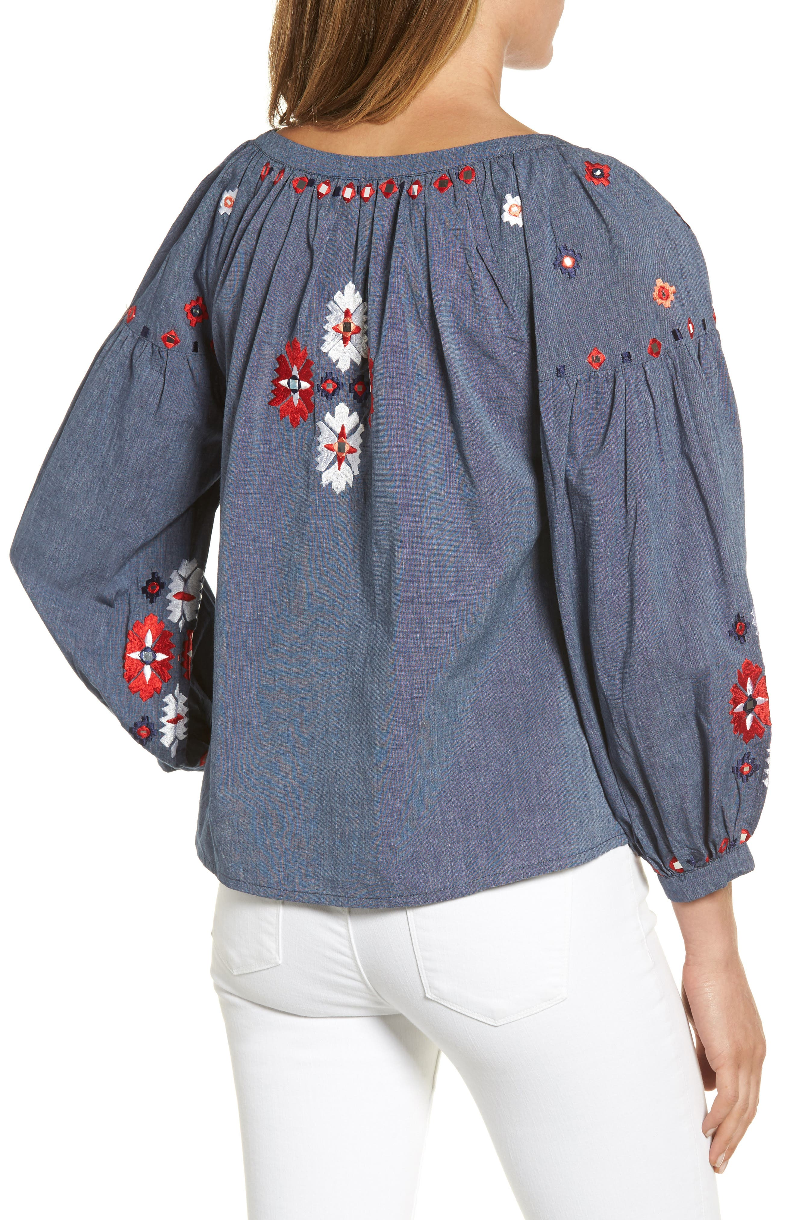 Elora Embroidered Chambray Top,                             Alternate thumbnail 2, color,                             DENIM
