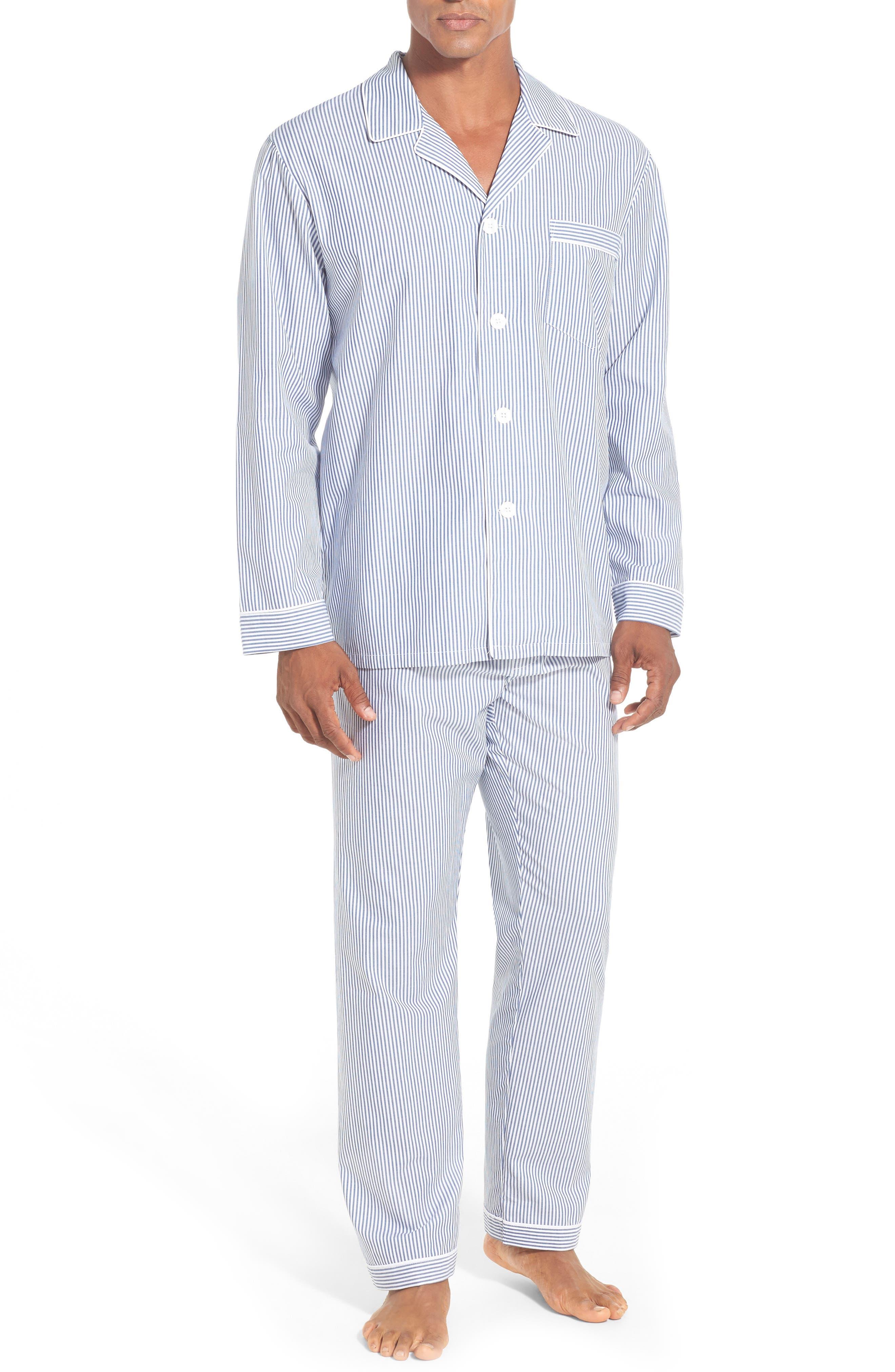 Stripe Cotton Pajamas,                         Main,                         color, NAVY