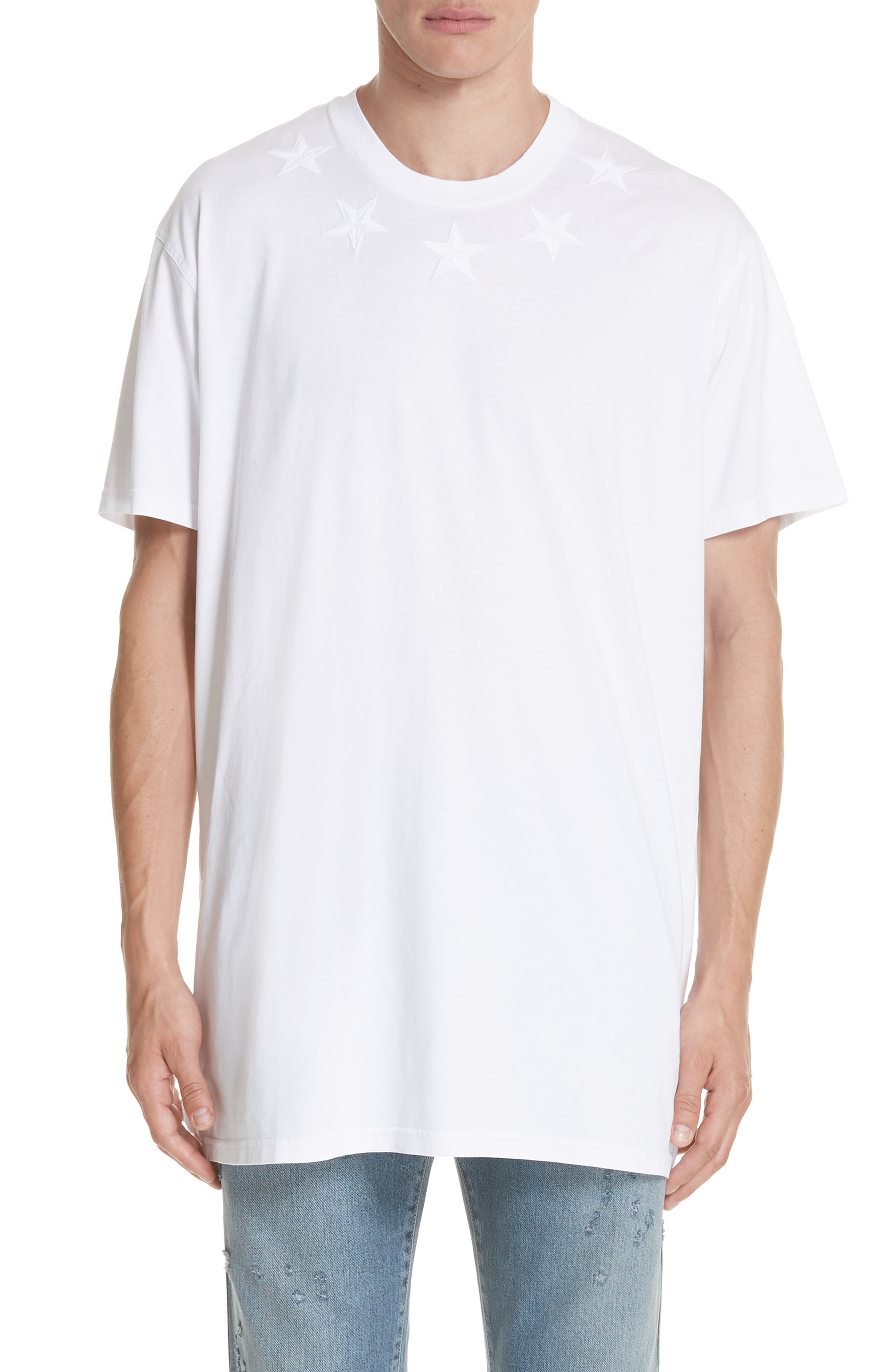 GIVENCHY,                             Star Appliqué T-Shirt,                             Main thumbnail 1, color,                             WHITE