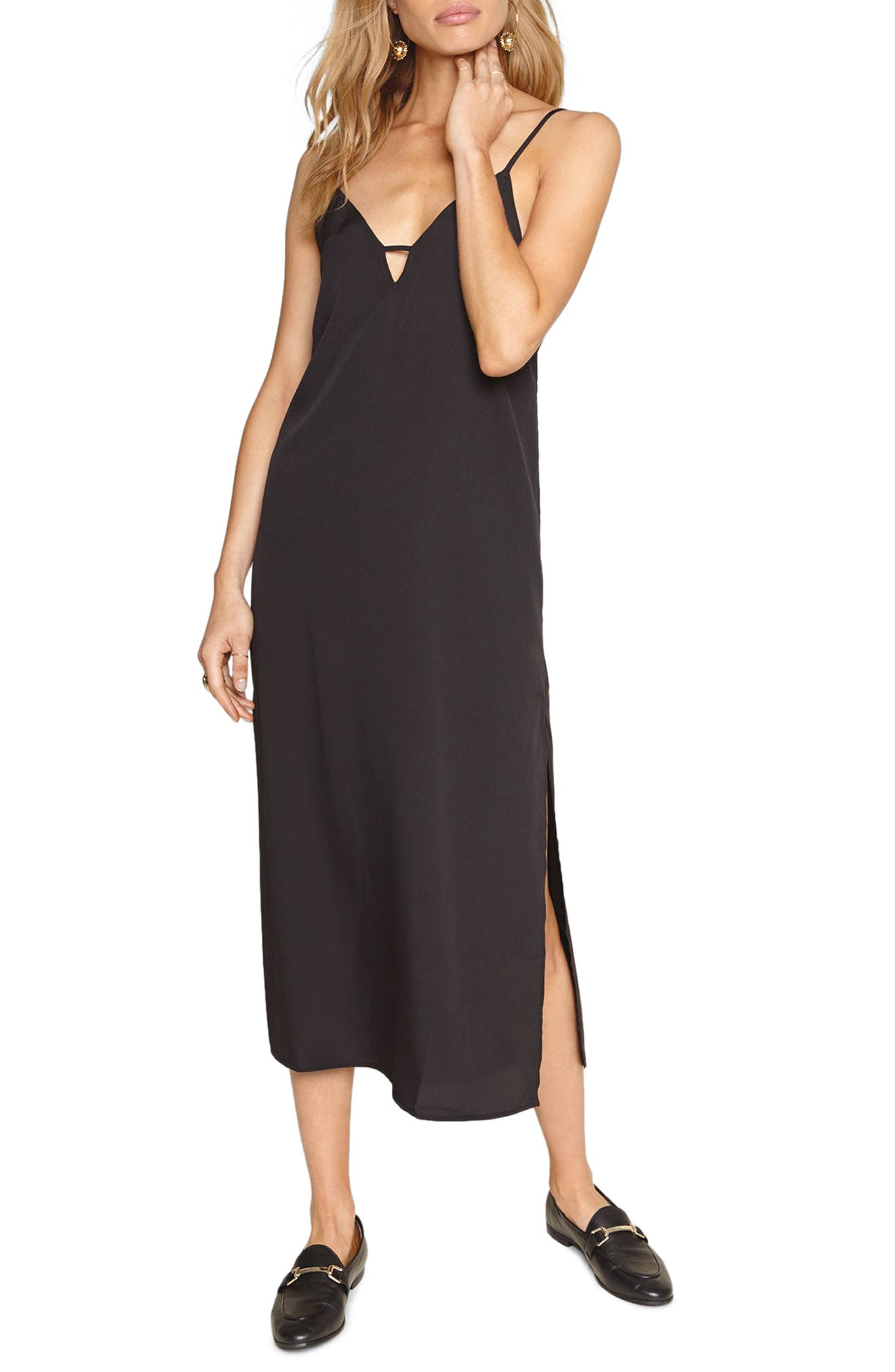 Stripe Midi Dress,                             Main thumbnail 1, color,                             001