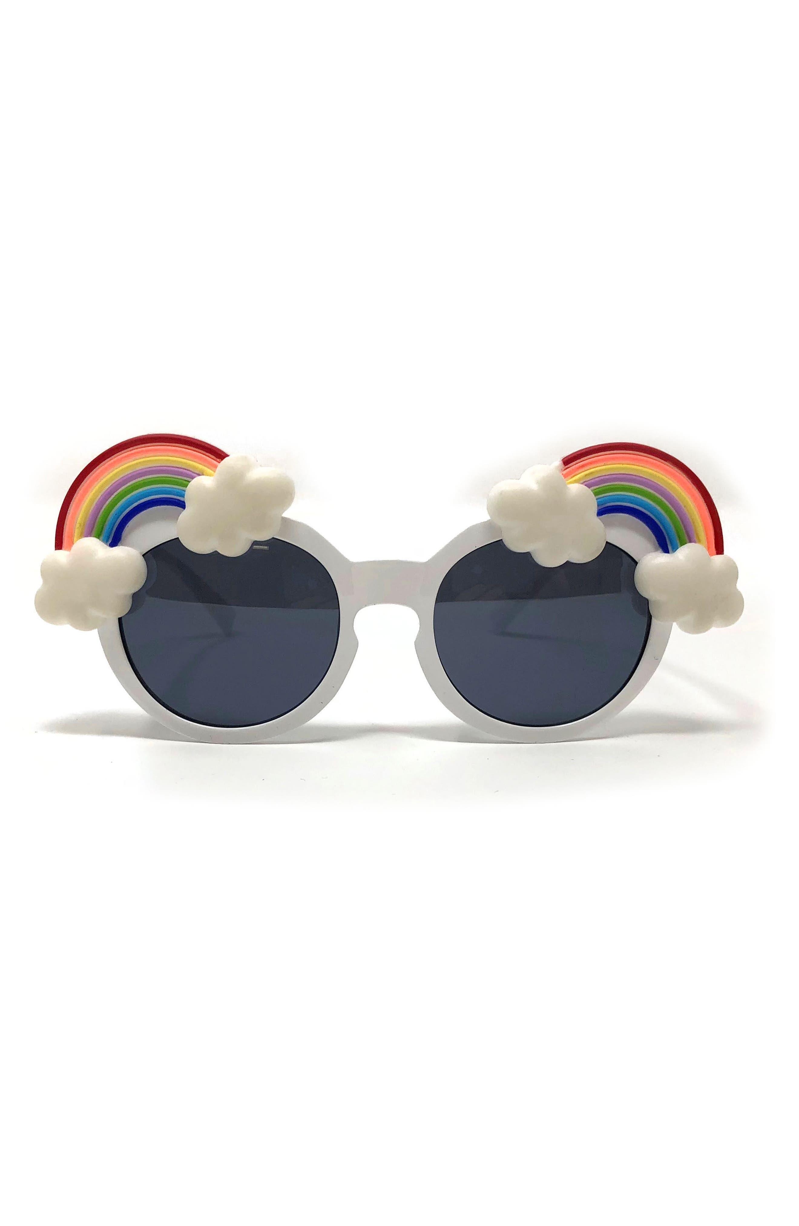 Small Round Rainbow Sunglasses,                             Main thumbnail 1, color,                             WHITE/RAINBOW