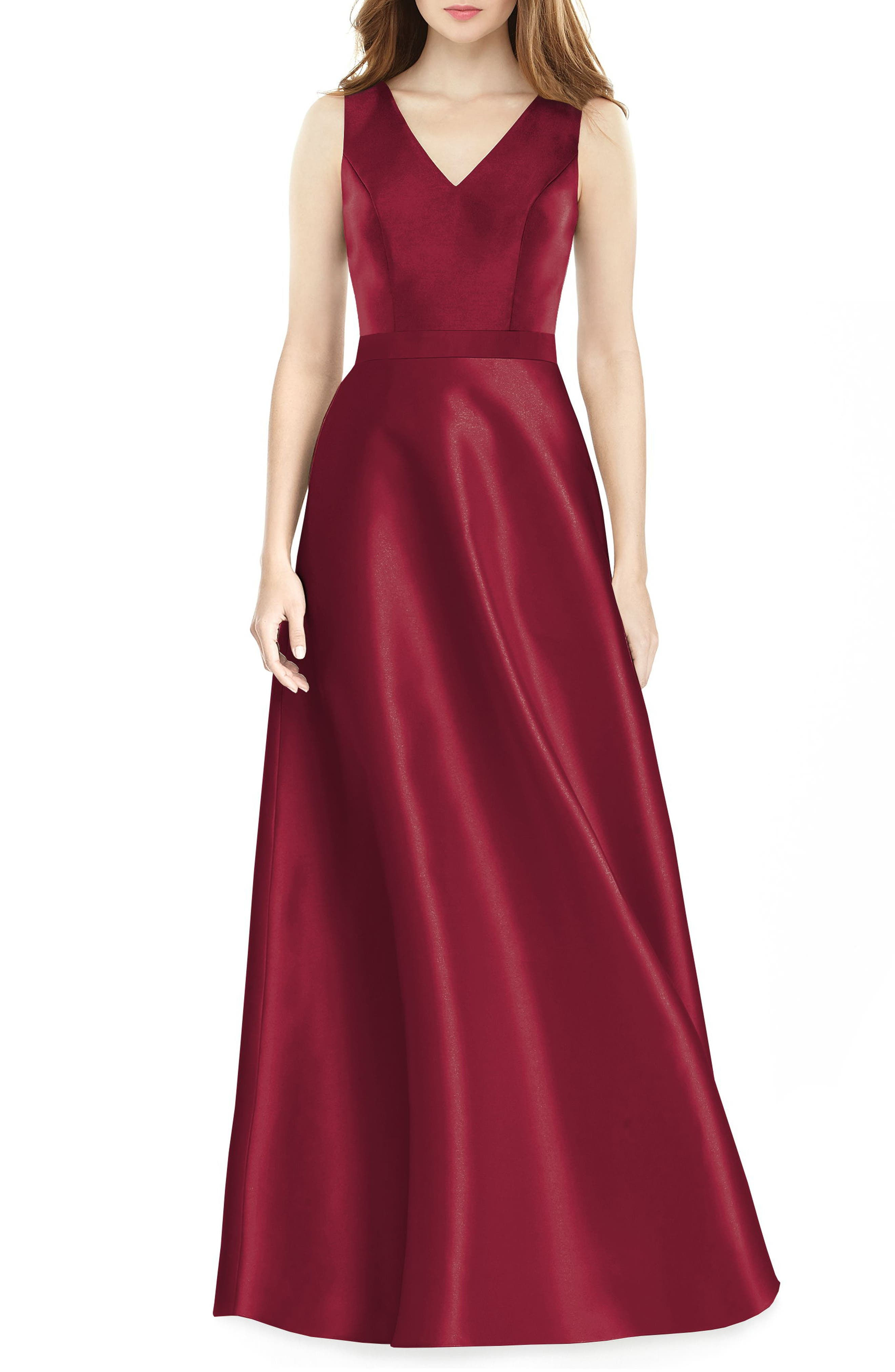 Alfred Sung Sleeveless Sateen Gown, Burgundy