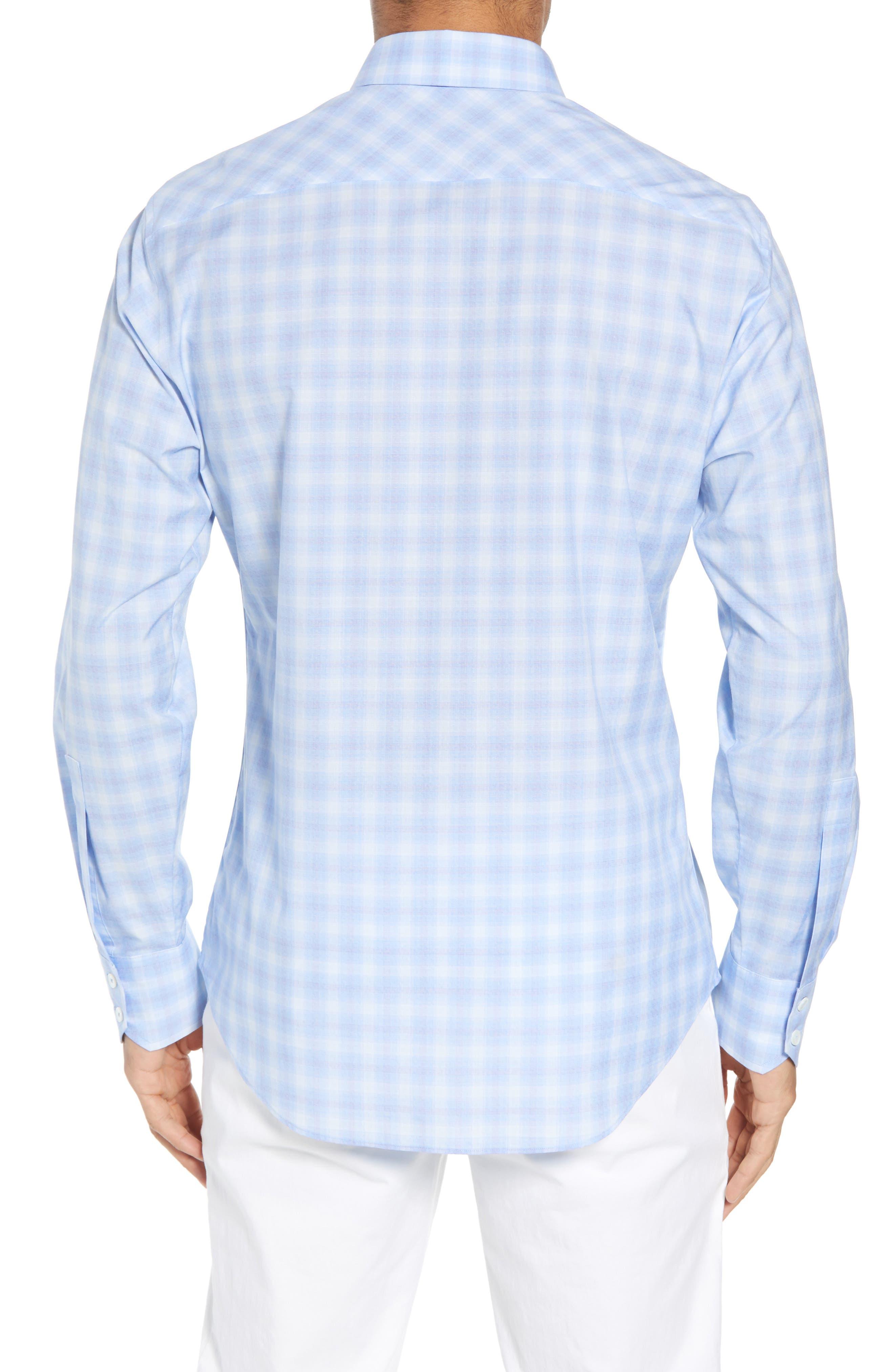 Salamone Plaid Sport Shirt,                             Alternate thumbnail 2, color,                             SKY