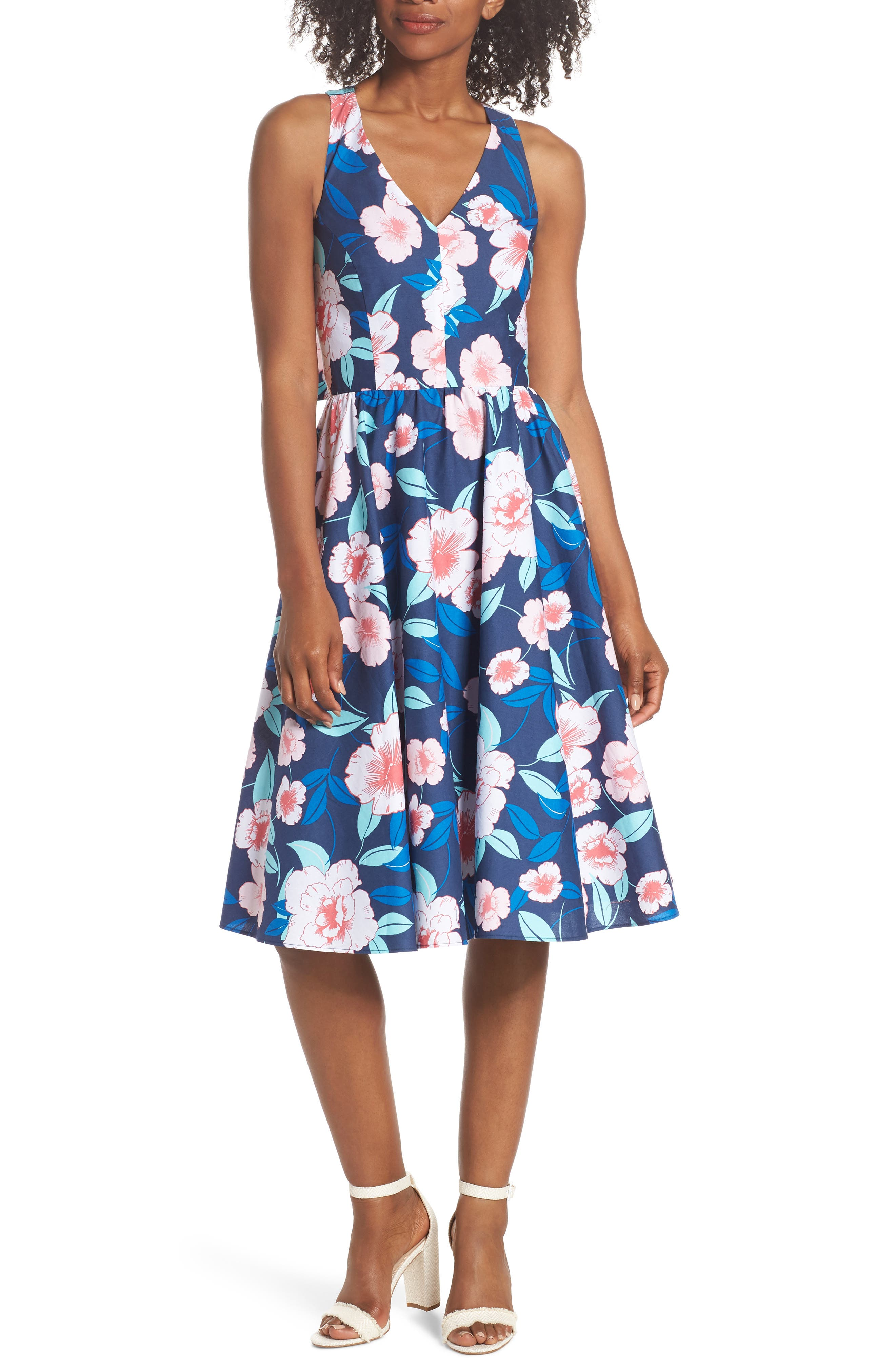 Floral Fit & Flare Halter Dress,                             Main thumbnail 1, color,                             NAVY/ PINK