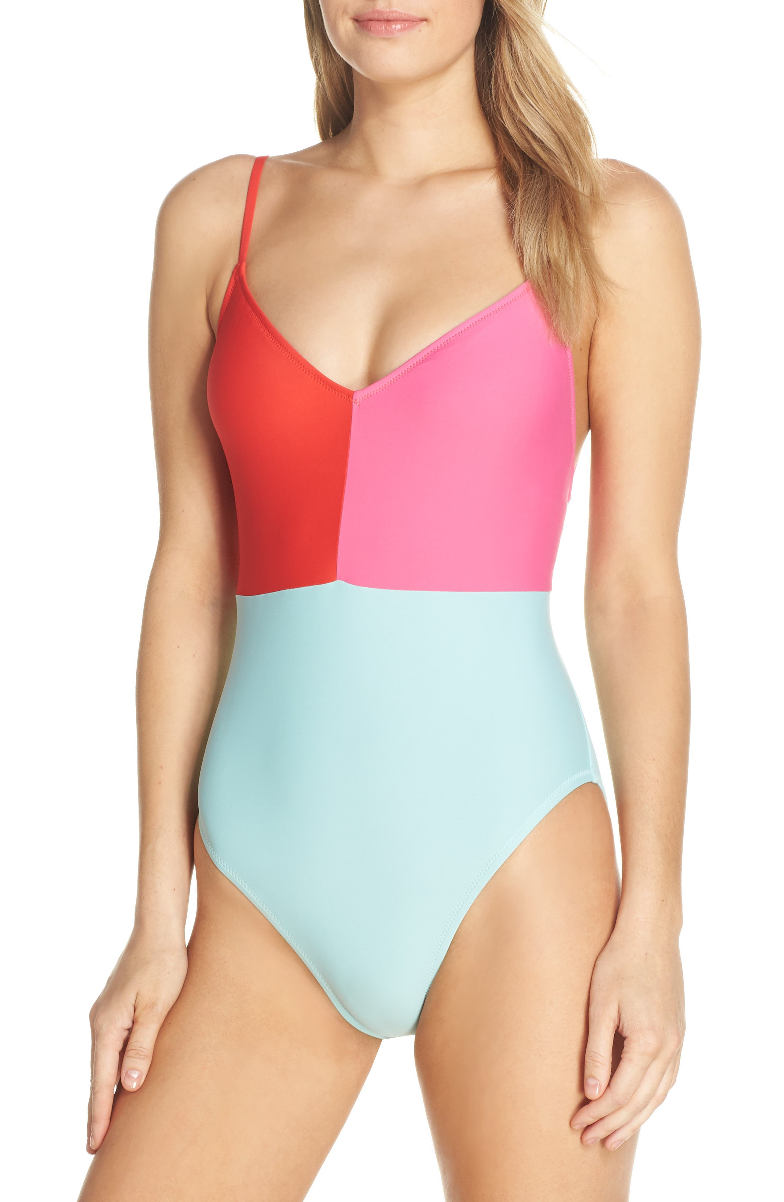 1950s Swimsuits, 50s Bathing Suits, Retro Swimwear Womens J.crew Colorblock Strappy One-Piece Swimsuit $110.00 AT vintagedancer.com