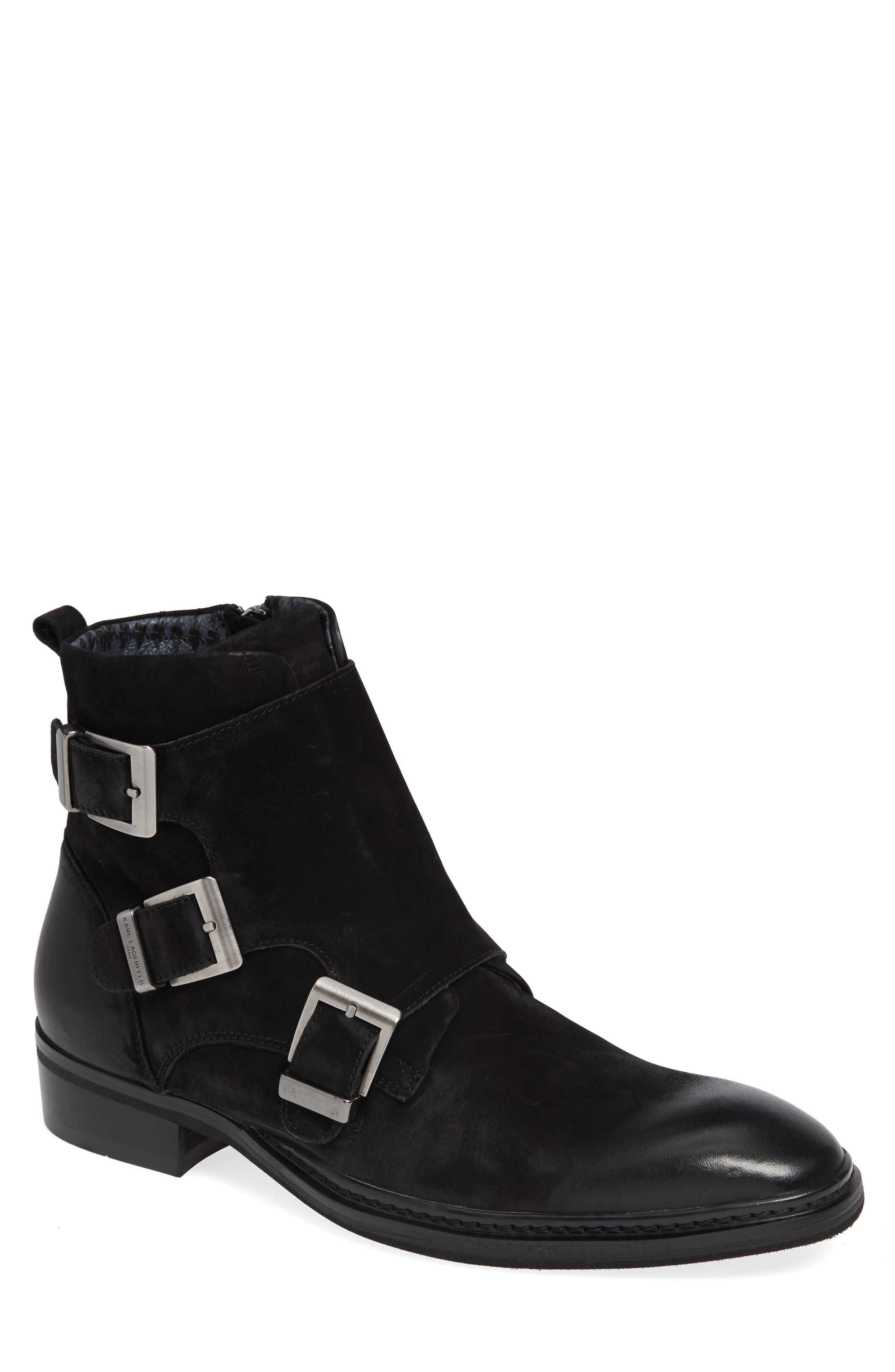Triple Buckle Monk Boot,                         Main,                         color, BLACK