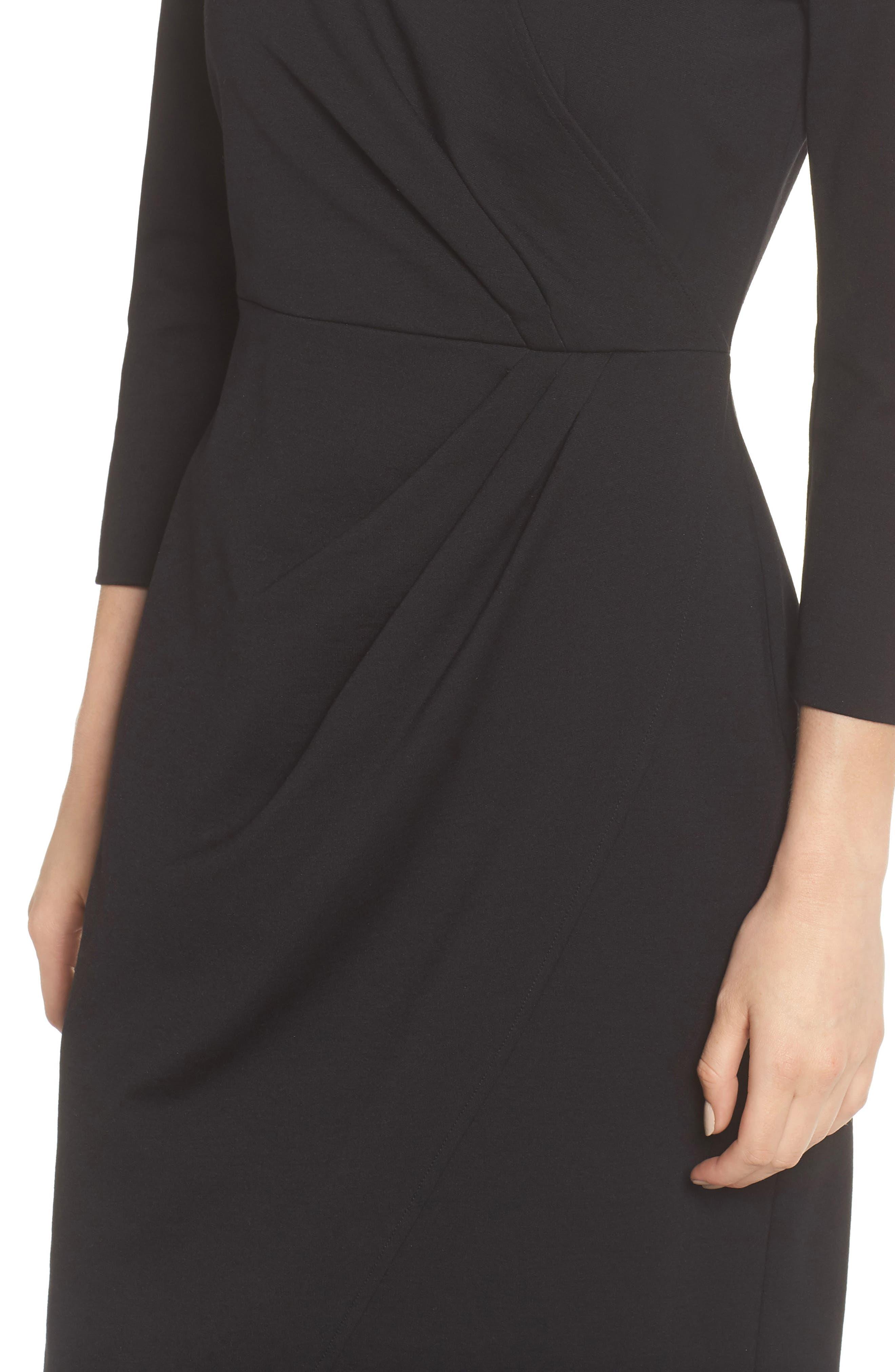 Faux Wrap Ponte Sheath Dress,                             Alternate thumbnail 4, color,                             001