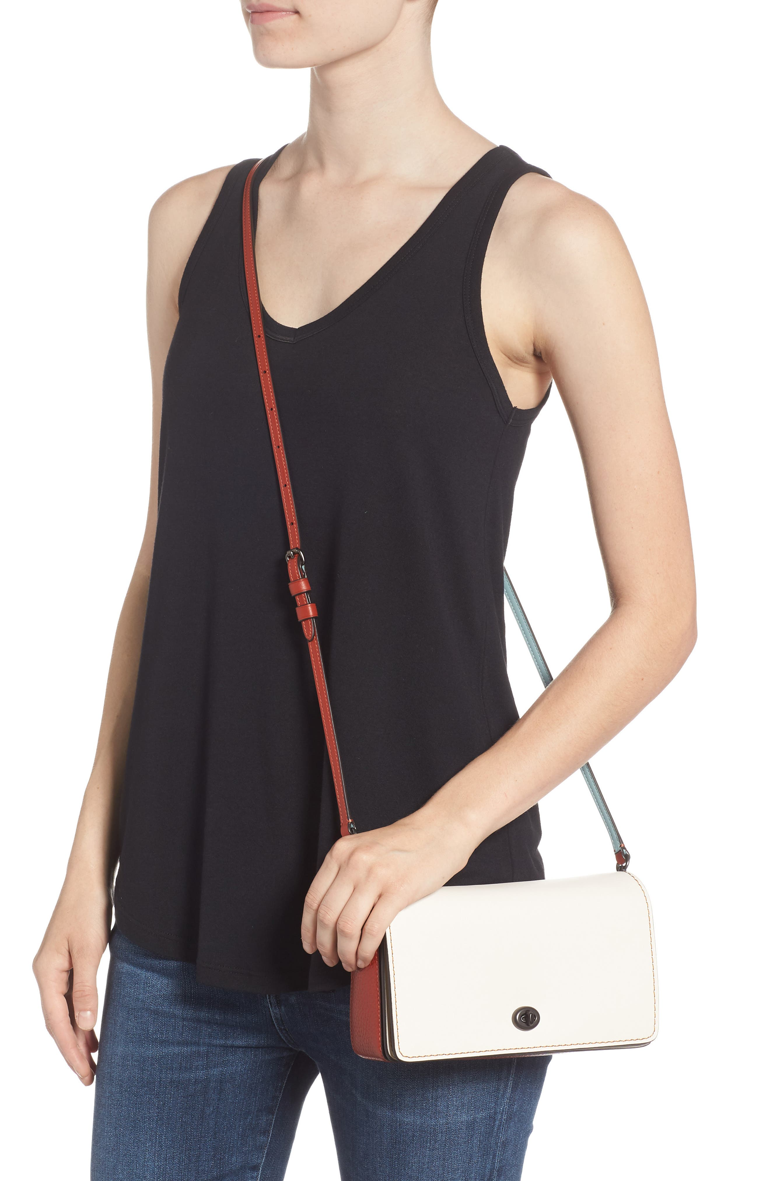 Dinky Colorblock Leather Crossbody Bag,                             Alternate thumbnail 2, color,                             CHALK MULTI