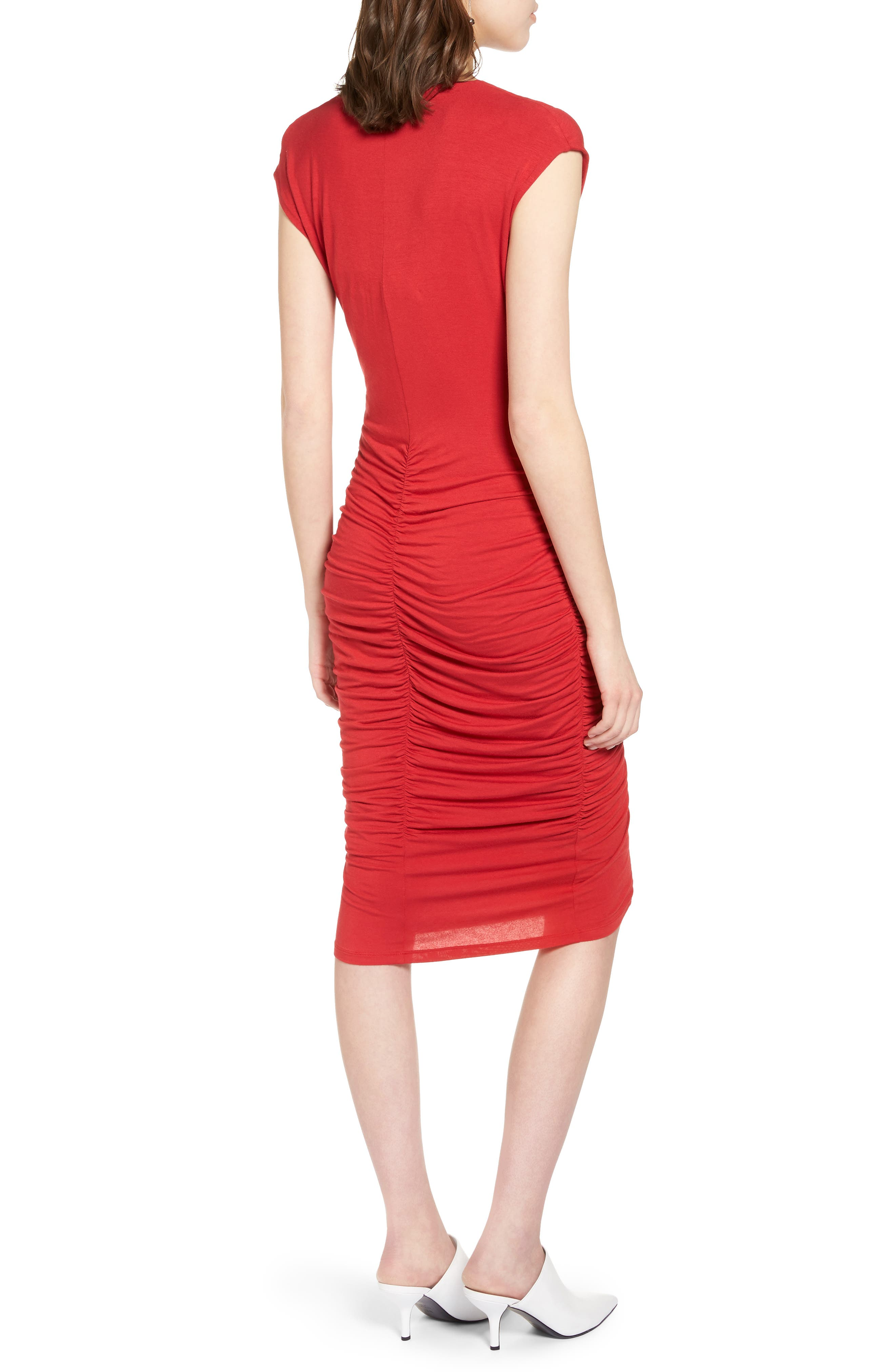 Ruched Detail Sheath Dress,                             Alternate thumbnail 6, color,